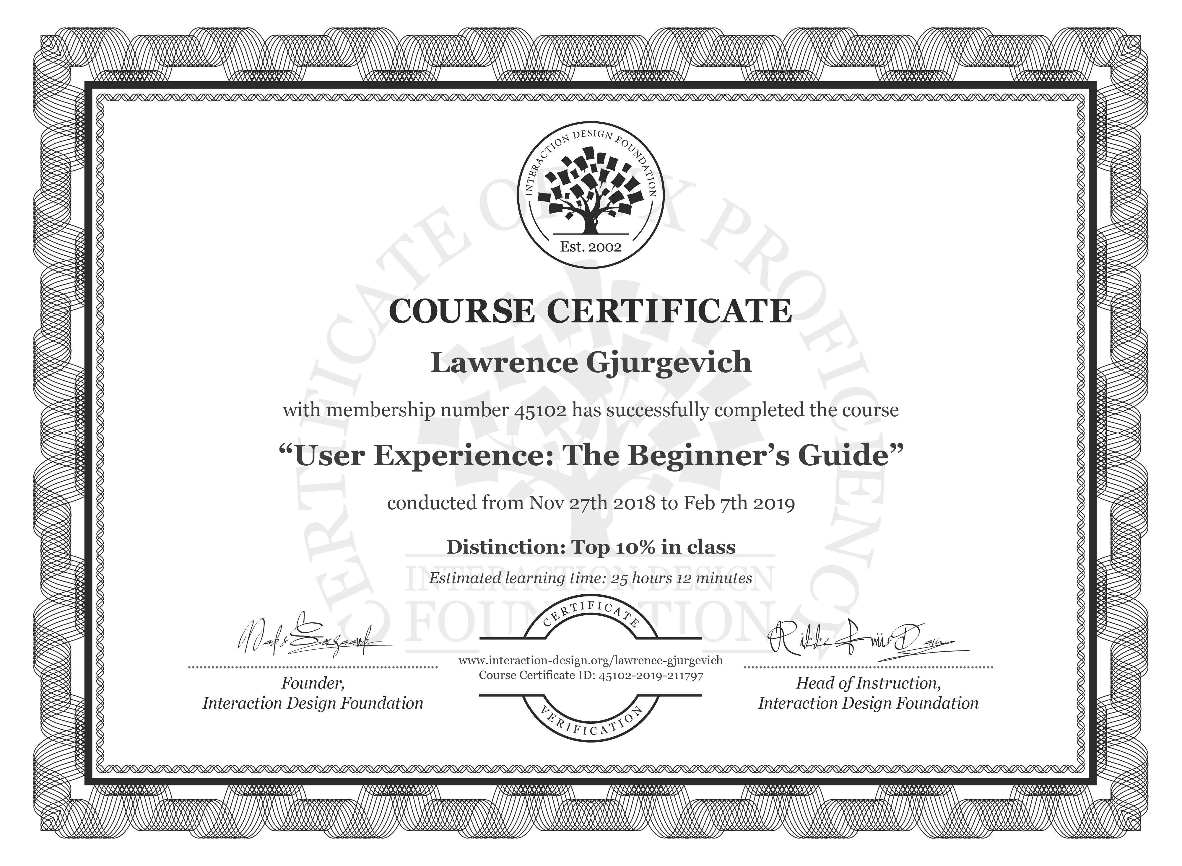 Lawrence Gjurgevich: Course Certificate - Become a UX Designer from Scratch