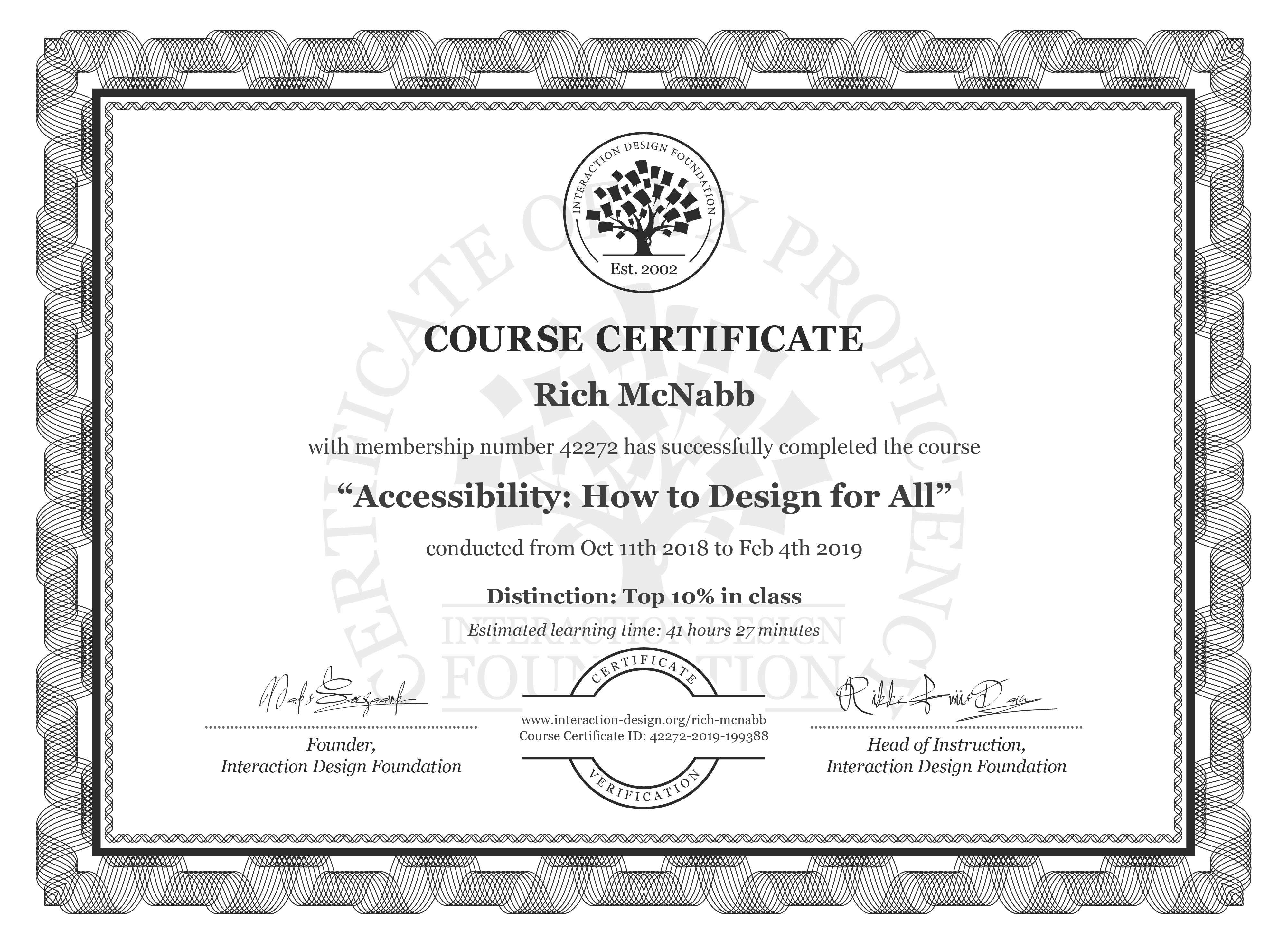Rich McNabb's Course Certificate: Accessibility: How to Design for All