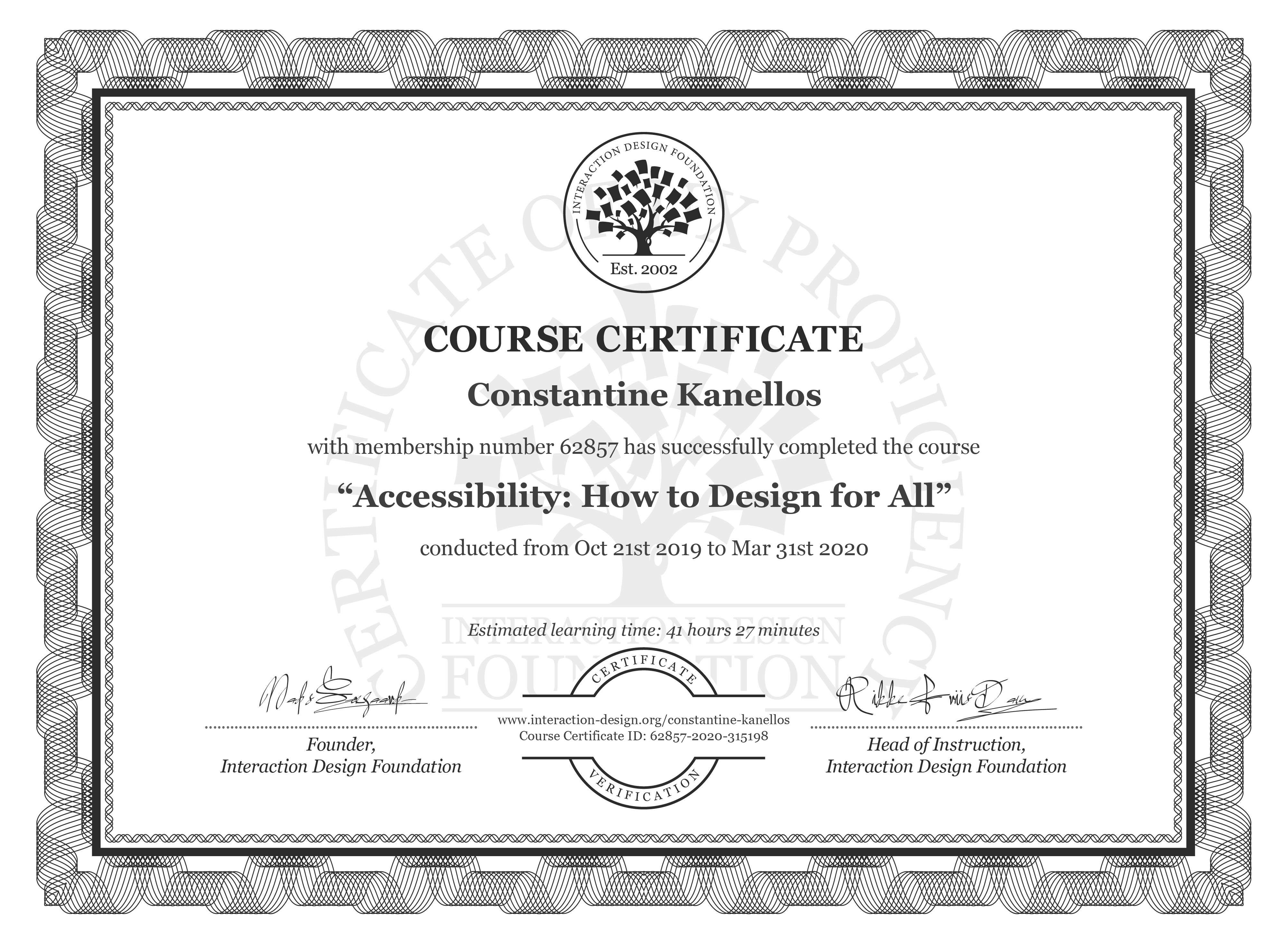 Constantine Kanellos's Course Certificate: Accessibility: How to Design for All