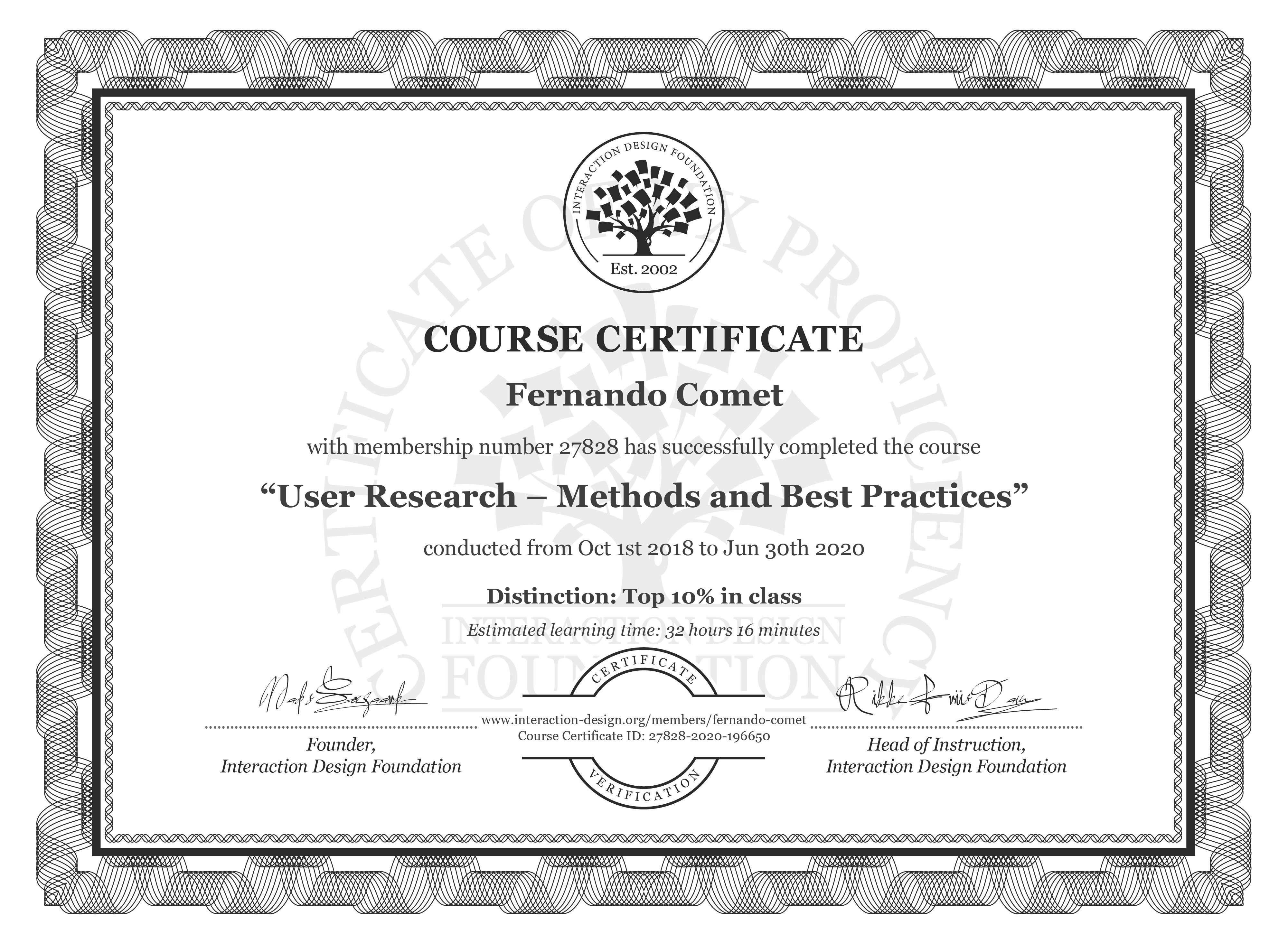 Fernando Comet's Course Certificate: User Research – Methods and Best Practices