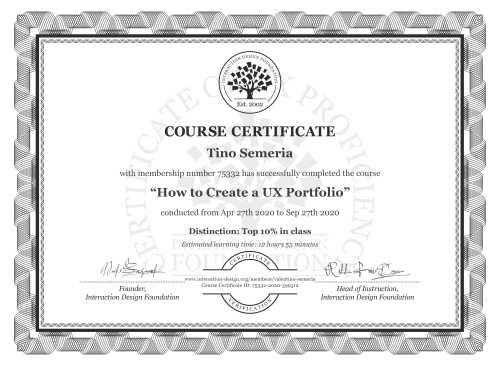 Tino Semeria's Course Certificate: How to Create a UX Portfolio