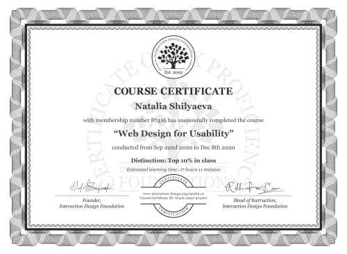 Natalia Shilyaeva's Course Certificate: Web Design for Usability