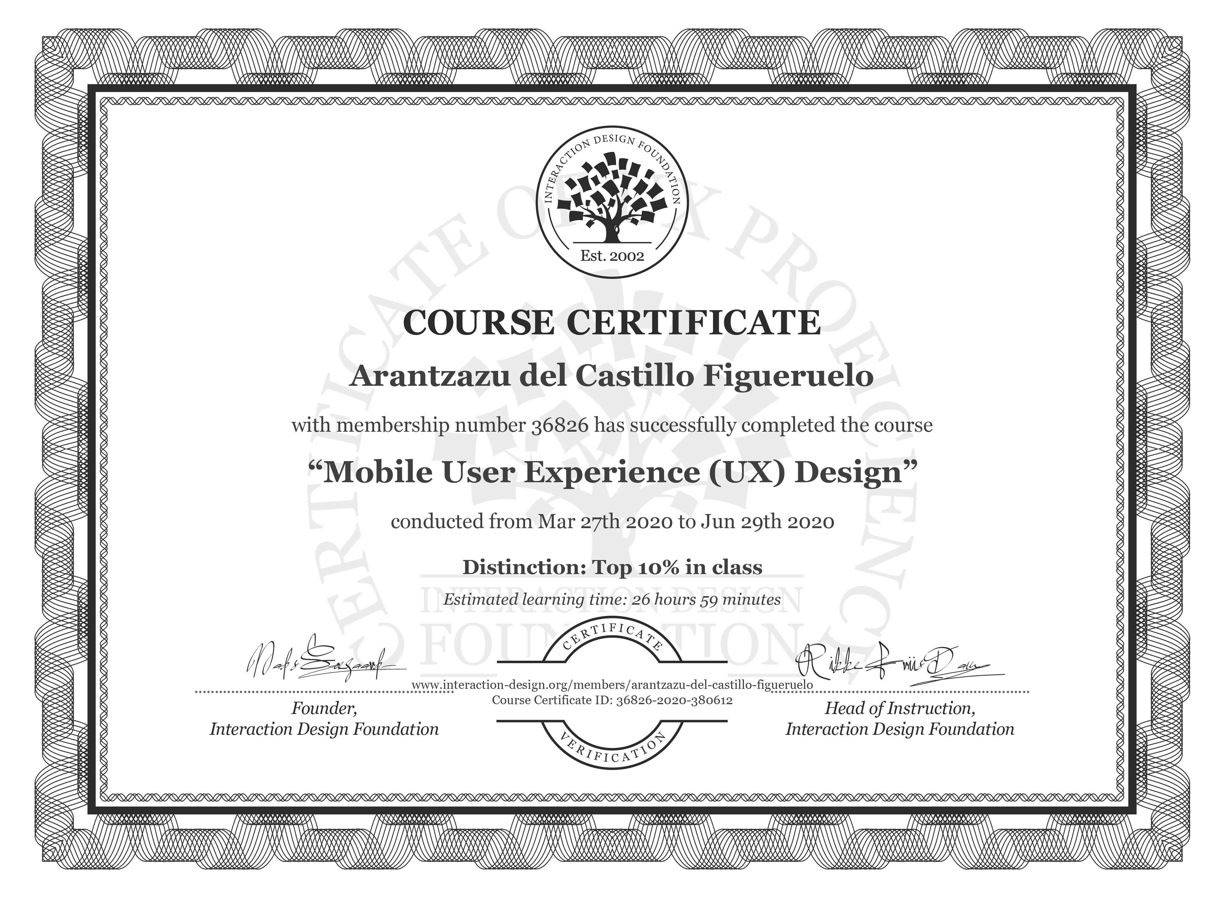 Arantzazu del Castillo Figueruelo's Course Certificate: Mobile User Experience (UX) Design