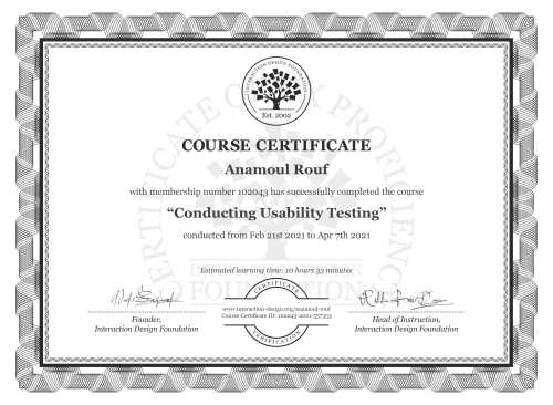 Anamoul Rouf's Course Certificate: Conducting Usability Testing