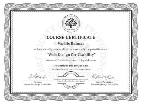 Vasilis Baimas's Course Certificate: Web Design for Usability