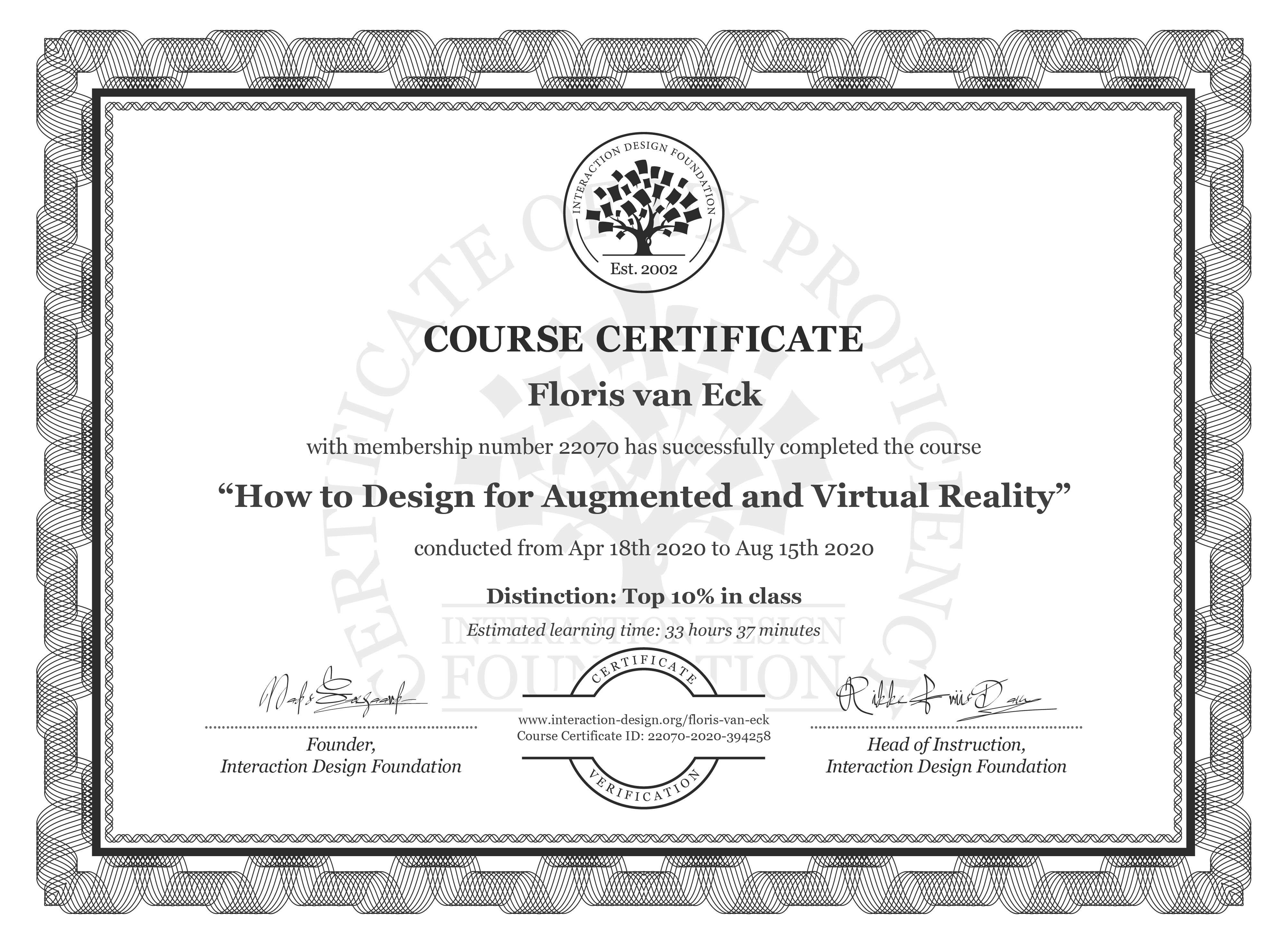 Floris van Eck's Course Certificate: How to Design for Augmented and Virtual Reality