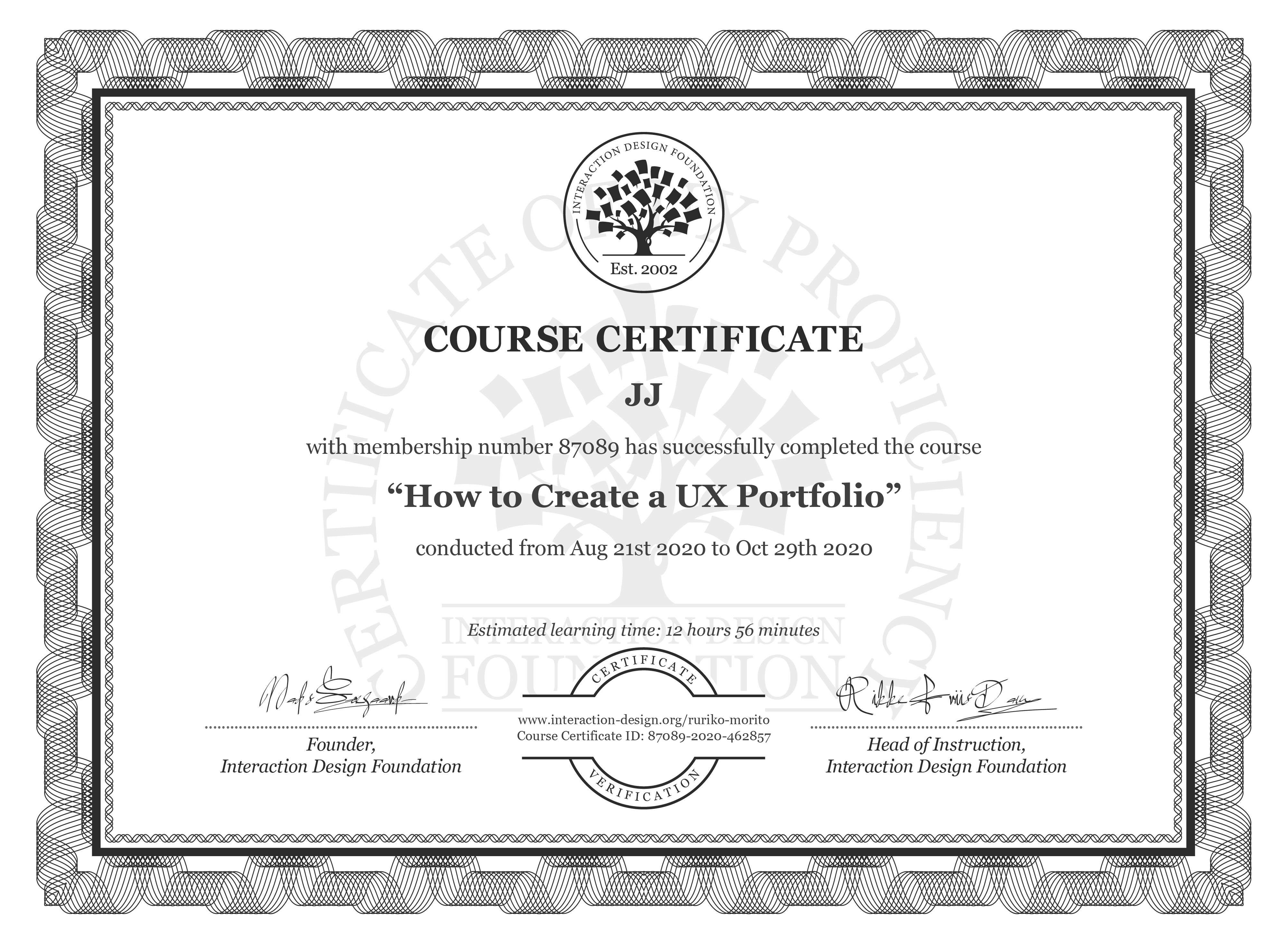 Ruriko Morito's Course Certificate: How to Create a UX Portfolio