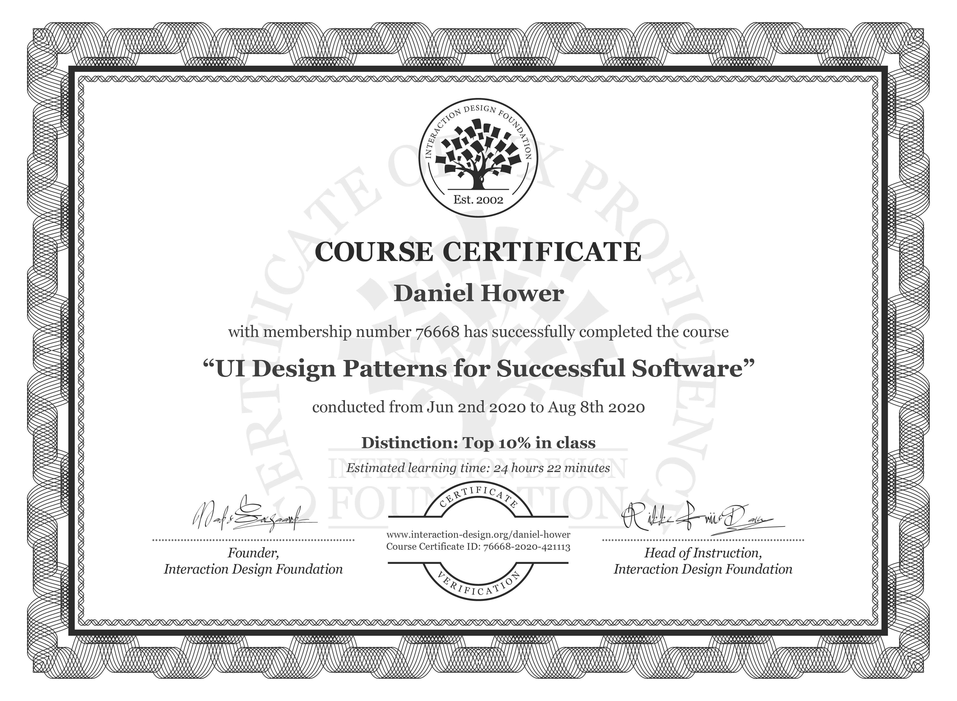 Daniel Hower's Course Certificate: UI Design Patterns for Successful Software