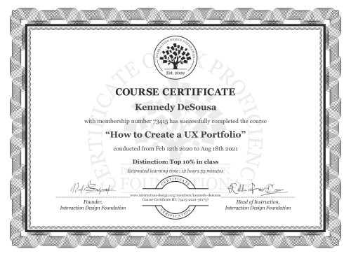 Kennedy DeSousa's Course Certificate: How to Create a UX Portfolio