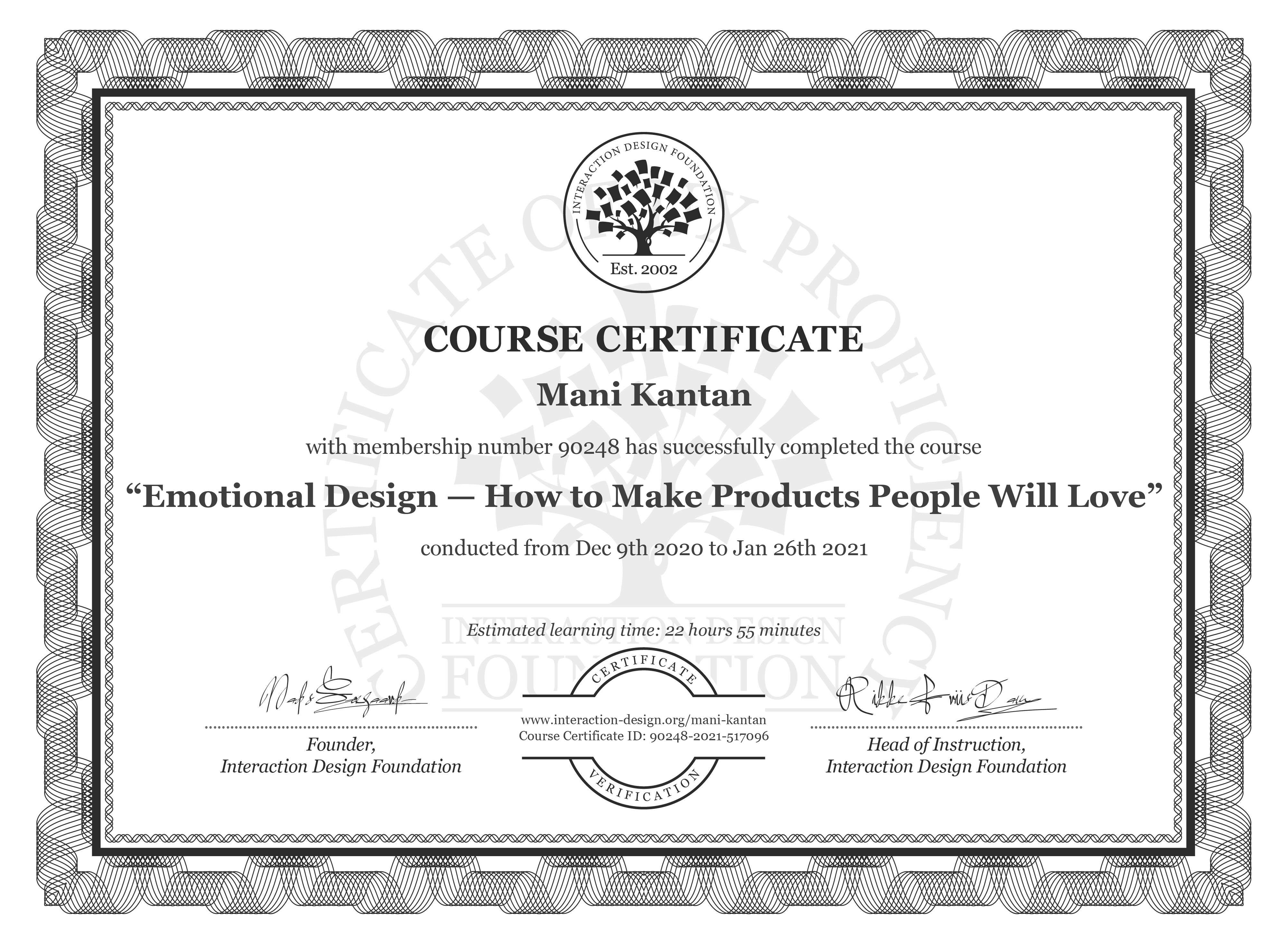 Mani Kantan's Course Certificate: Emotional Design — How to Make Products People Will Love