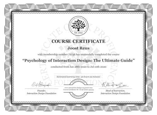 Joost Reus's Course Certificate: Psychology of Interaction Design: The Ultimate Guide
