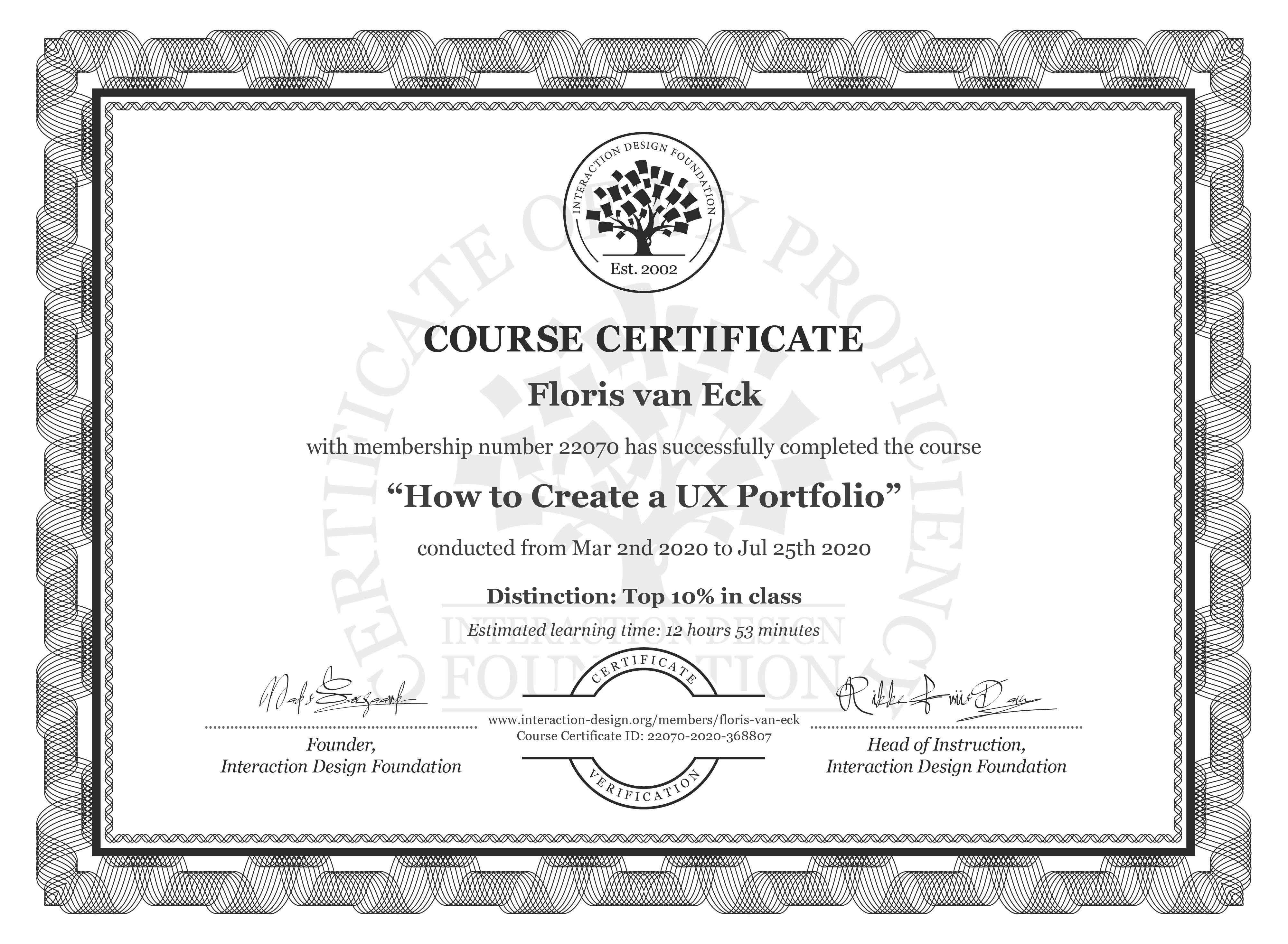 Floris van Eck's Course Certificate: How to Create a UX Portfolio