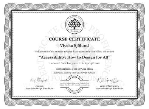 Viveka Sjölund's Course Certificate: Accessibility: How to Design for All