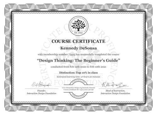 Kennedy DeSousa's Course Certificate: Design Thinking: The Beginner's Guide