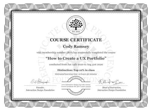 Cody Ramsey's Course Certificate: How to Create a UX Portfolio