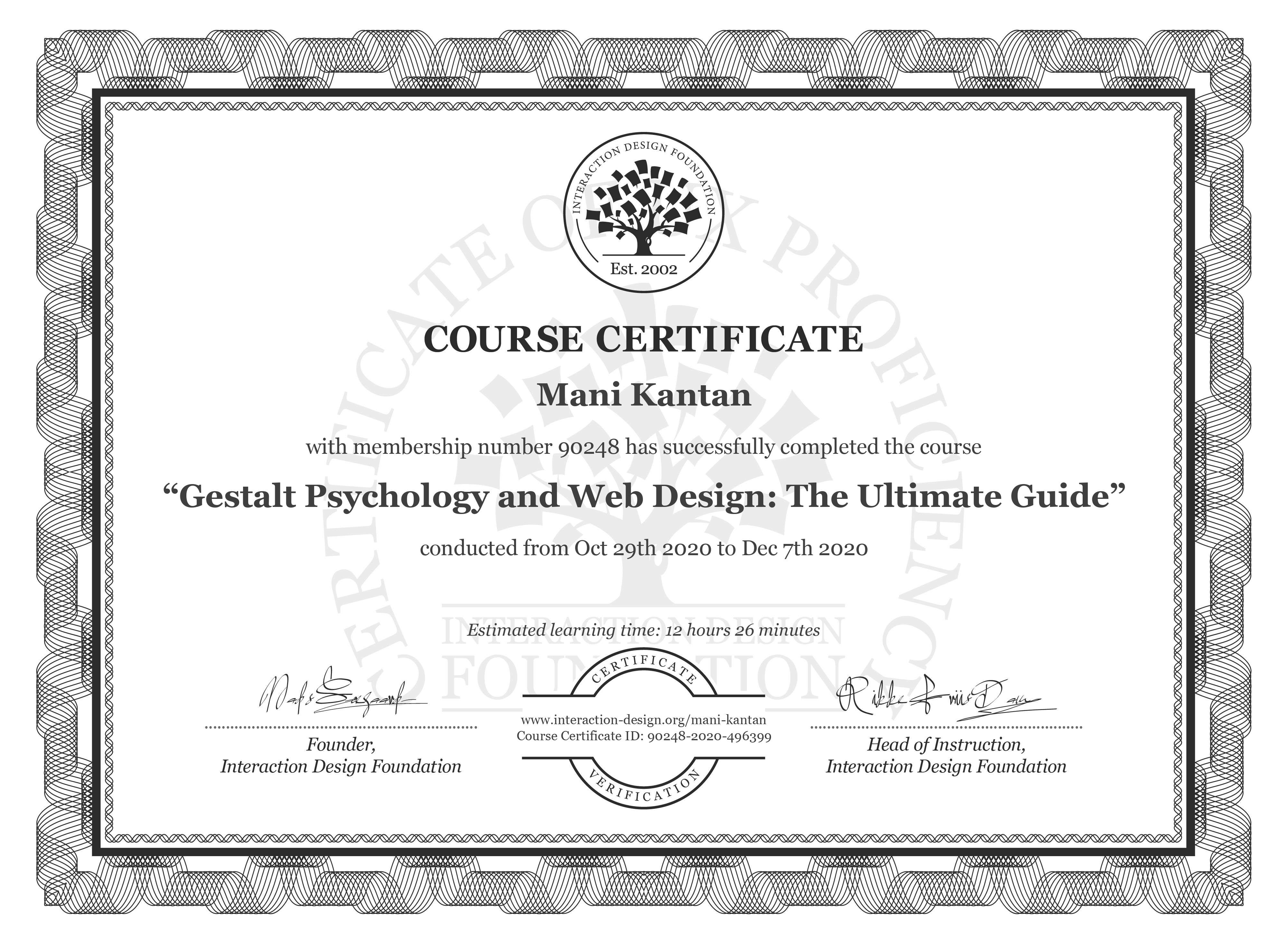 Mani Kantan's Course Certificate: Gestalt Psychology and Web Design: The Ultimate Guide