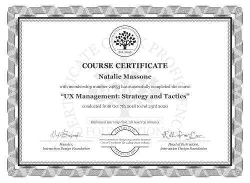 Natalie Massone's Course Certificate: UX Management: Strategy and Tactics
