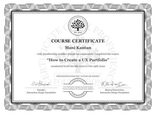 Mani Kantan's Course Certificate: How to Create a UX Portfolio