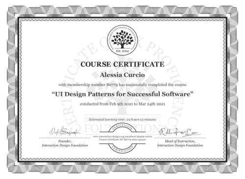 Alessia Curcio's Course Certificate: UI Design Patterns for Successful Software
