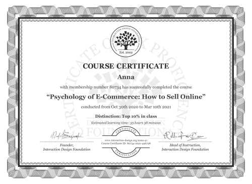 Anna's Course Certificate: Psychology of E-Commerce: How to Sell Online