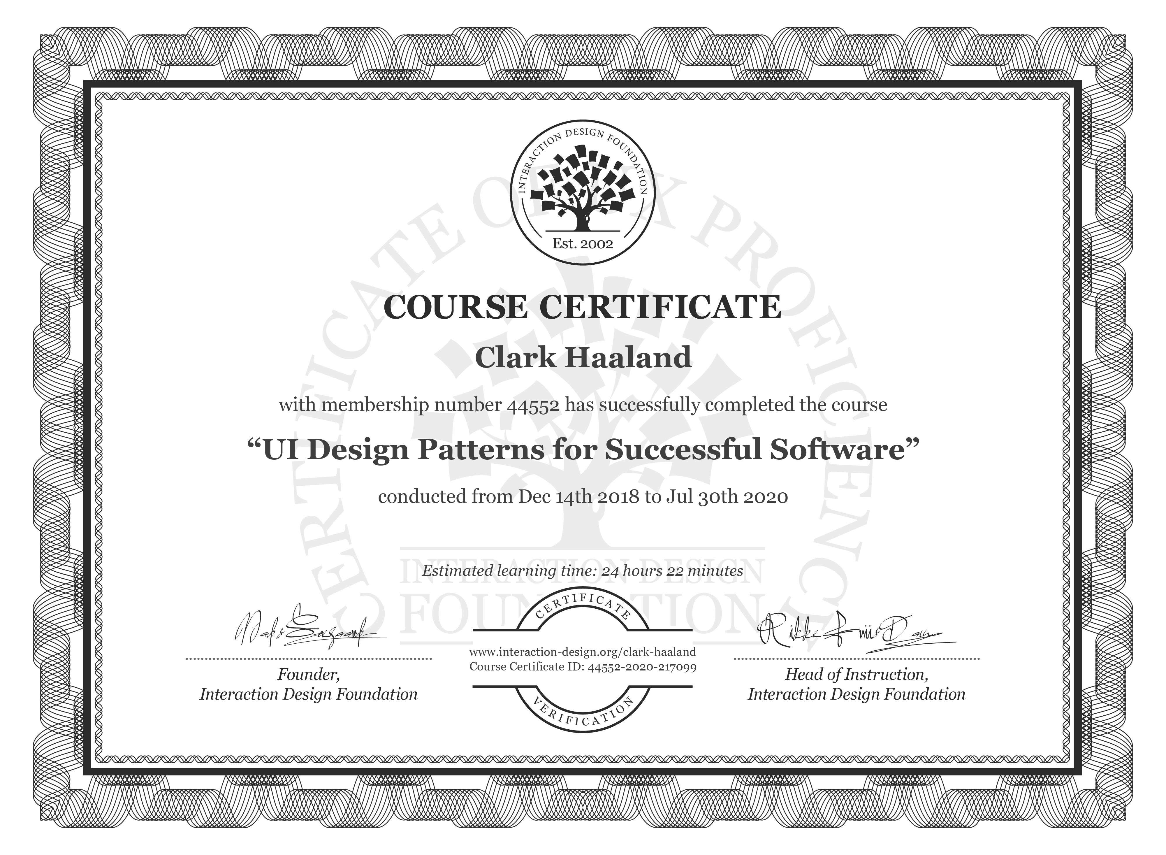 Clark Haaland's Course Certificate: UI Design Patterns for Successful Software