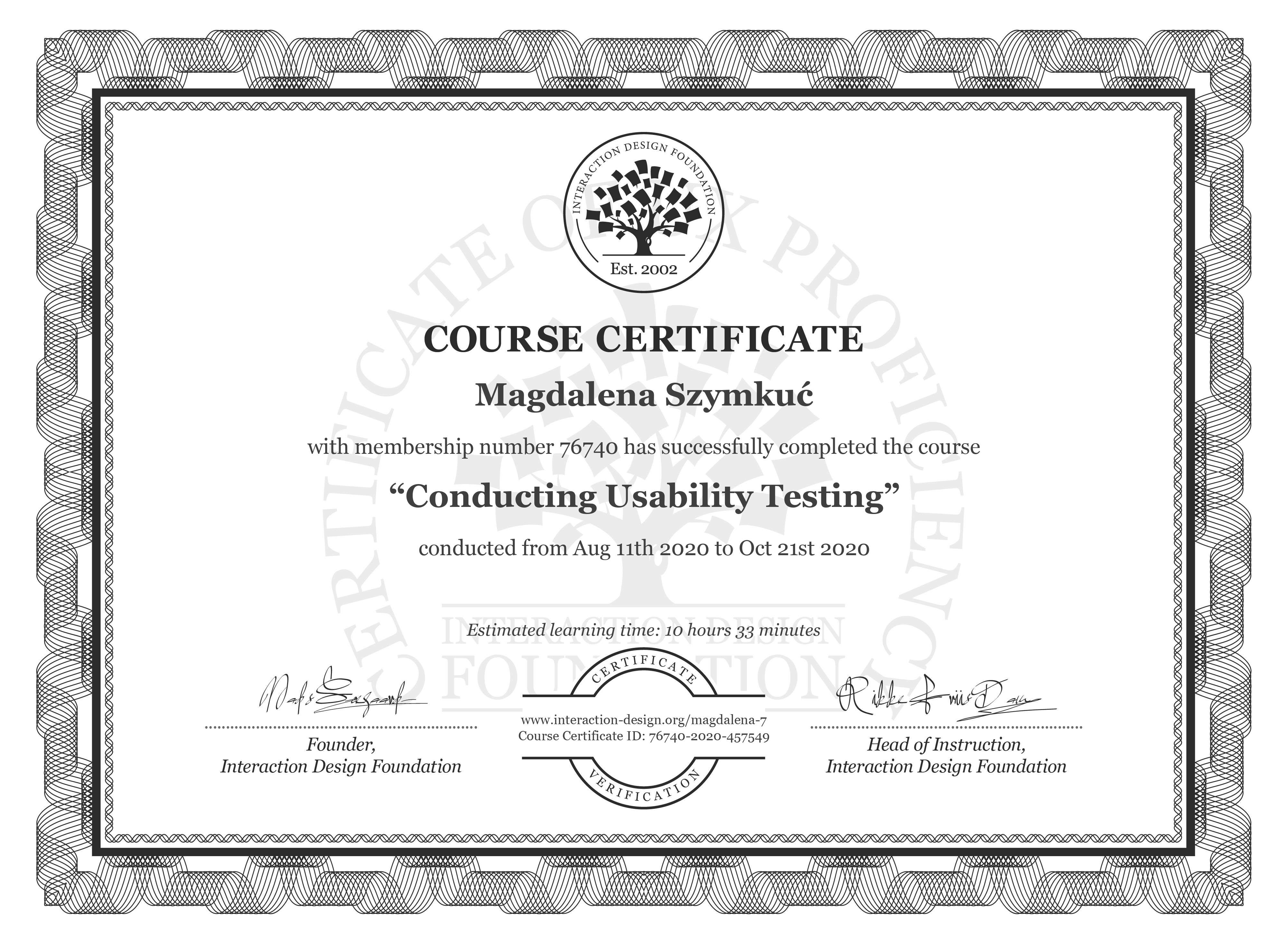 Magdalena Szymkuć's Course Certificate: Conducting Usability Testing