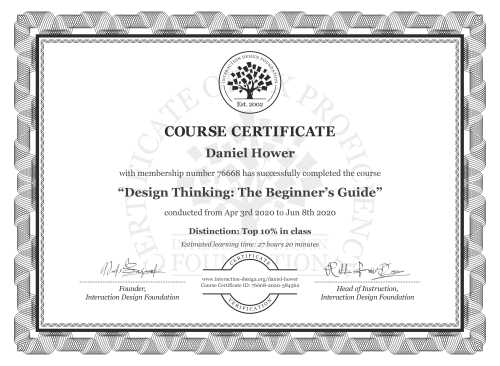 Daniel Hower's Course Certificate: Design Thinking: The Beginner's Guide