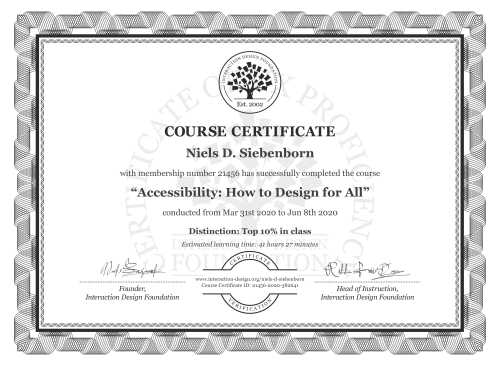 Niels D. Siebenborn's Course Certificate: Accessibility: How to Design for All
