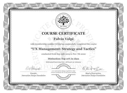 Fulvio Volpi's Course Certificate: UX Management: Strategy and Tactics