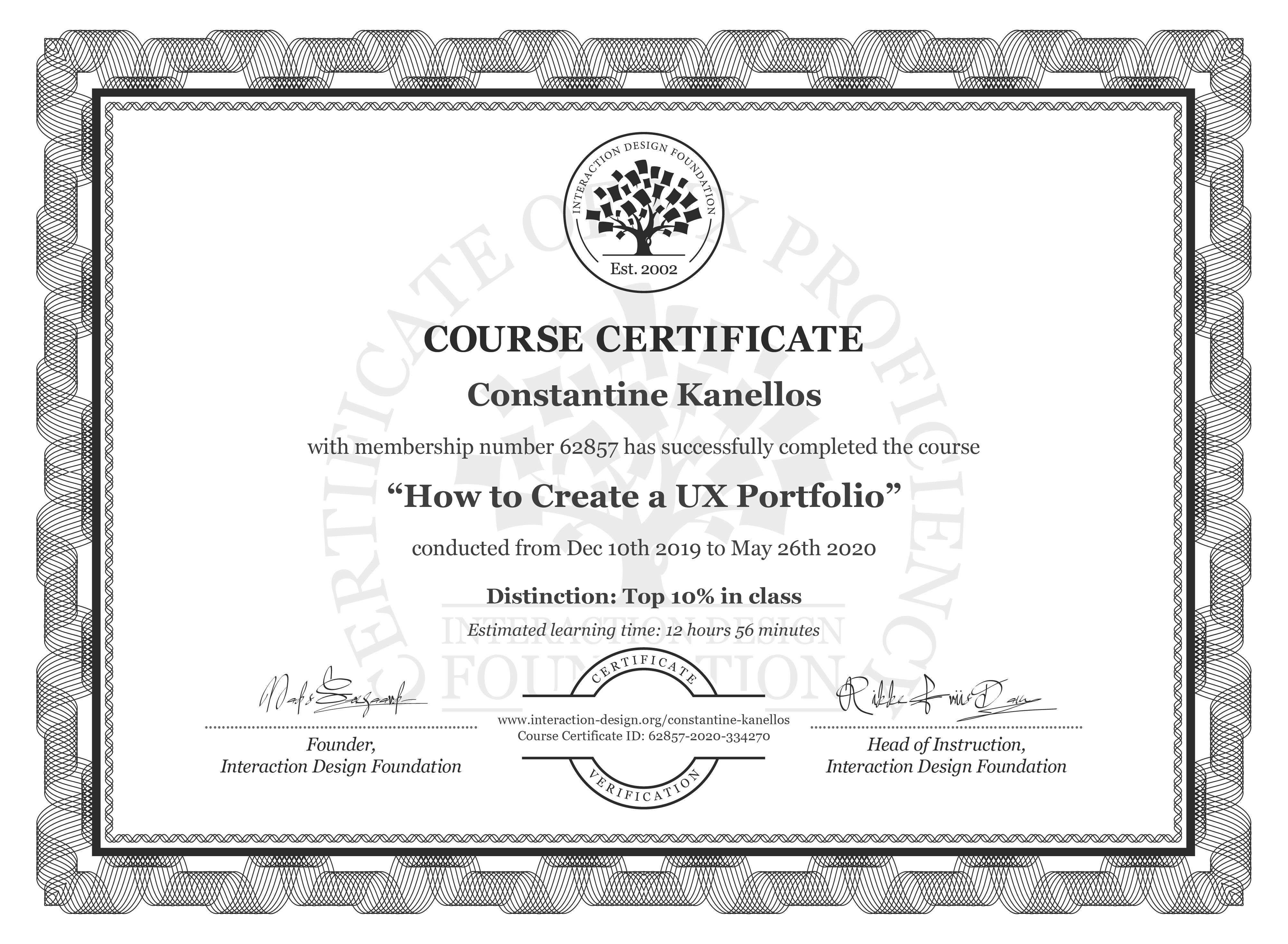 Constantine Kanellos's Course Certificate: How to Create a UX Portfolio