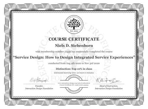 Niels D. Siebenborn's Course Certificate: Service Design: How to Design Integrated Service Experiences
