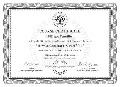 Filippo Camillo's Course Certificate: How to Create a UX Portfolio