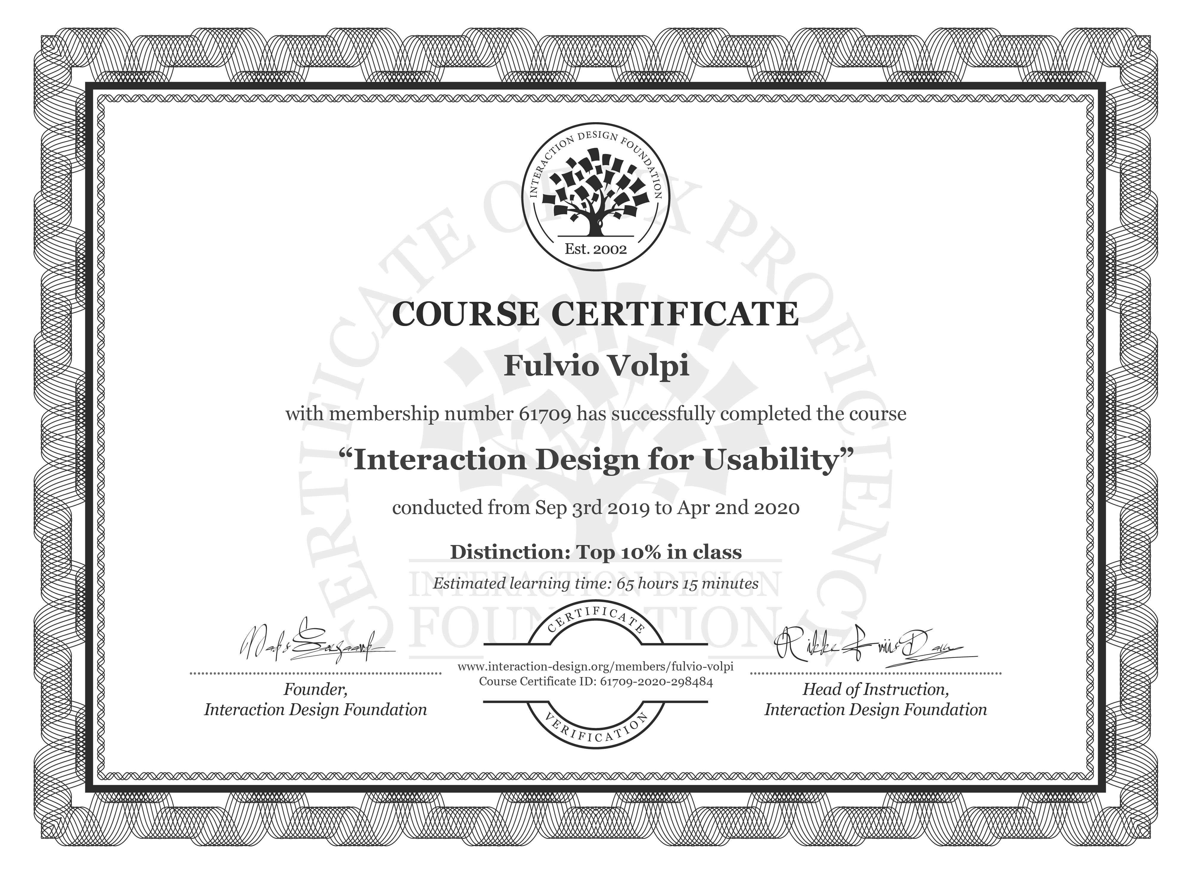 Fulvio Volpi's Course Certificate: Interaction Design for Usability