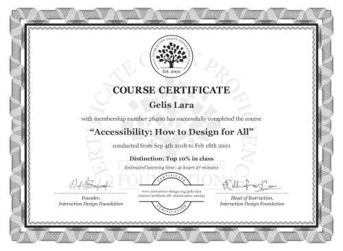 Gelis Lara's Course Certificate: Accessibility: How to Design for All