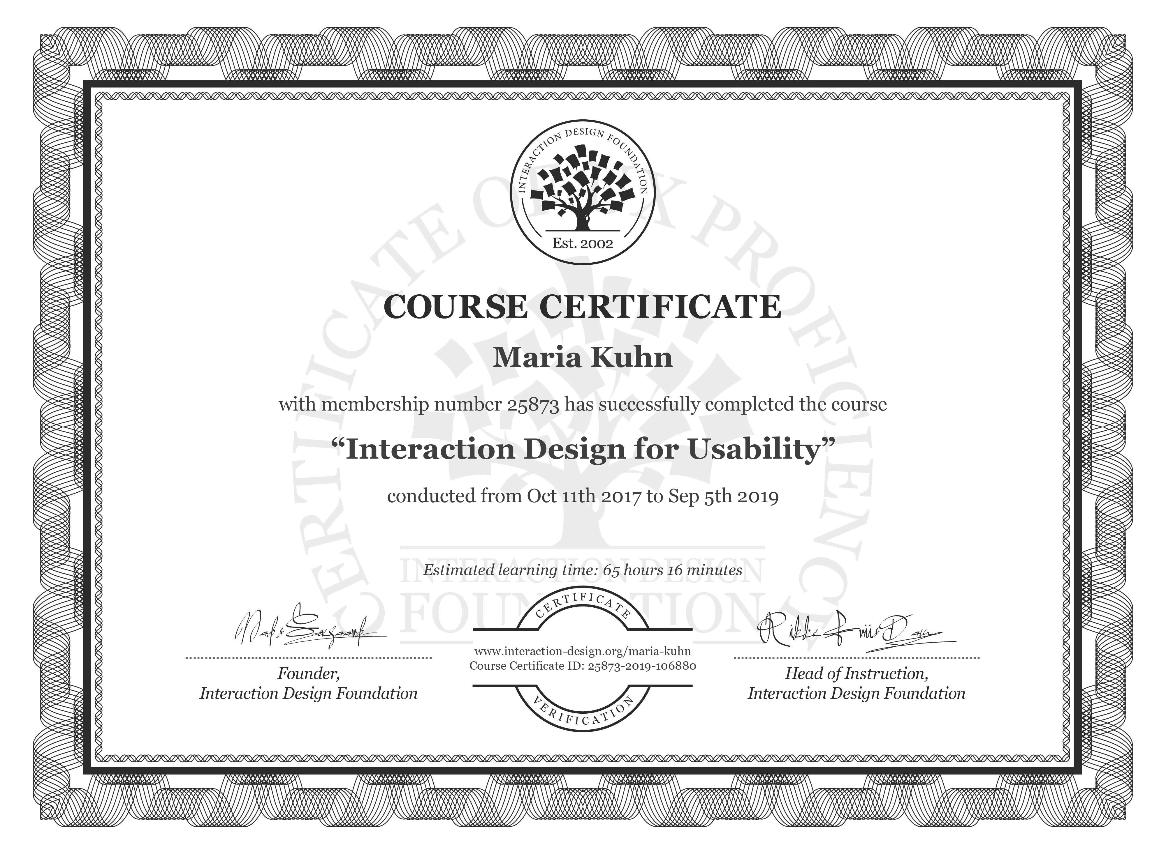 Maria Kuhn: Course Certificate - Interaction Design for Usability