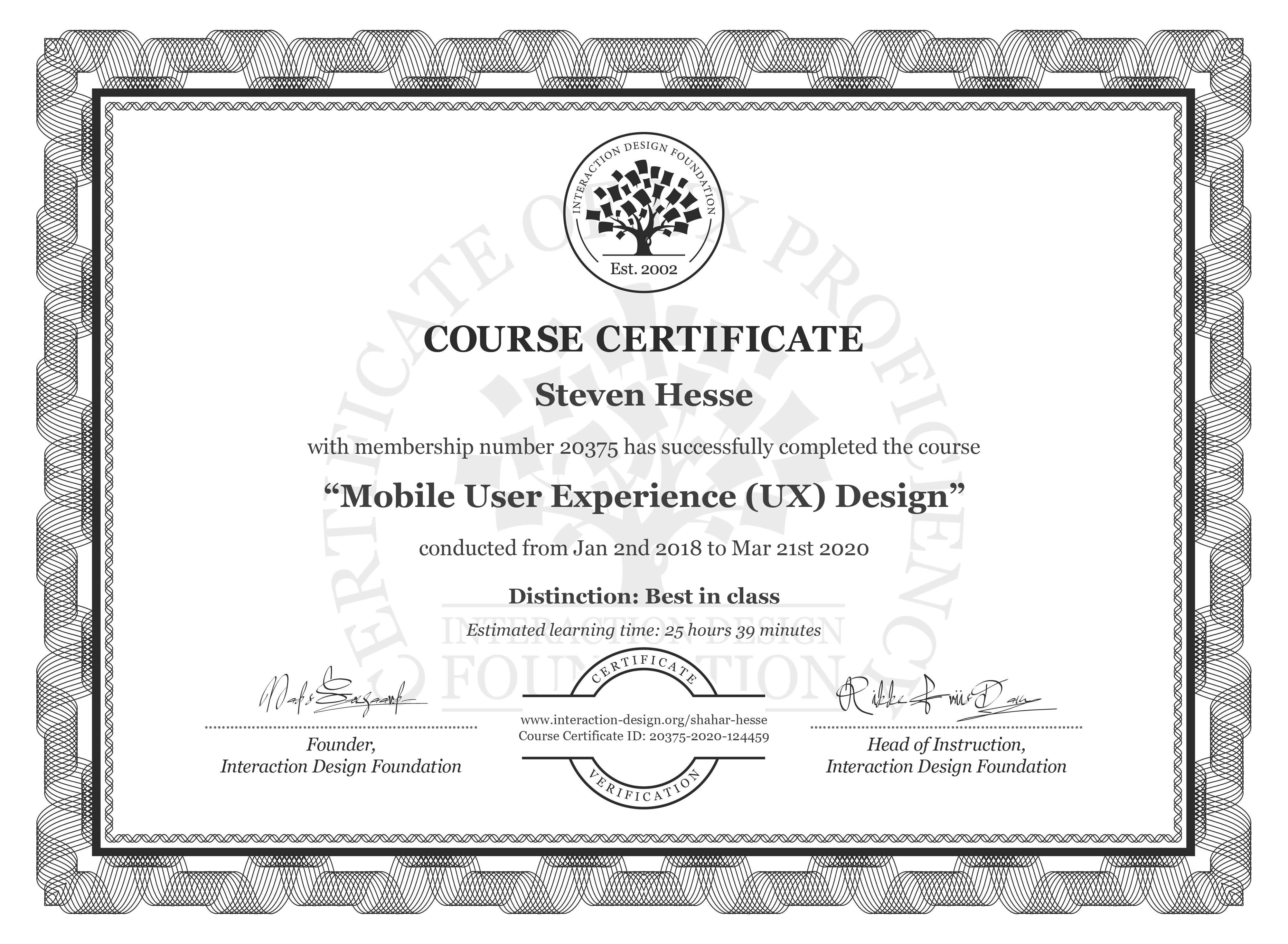 Steven Hesse's Course Certificate: Mobile User Experience (UX) Design