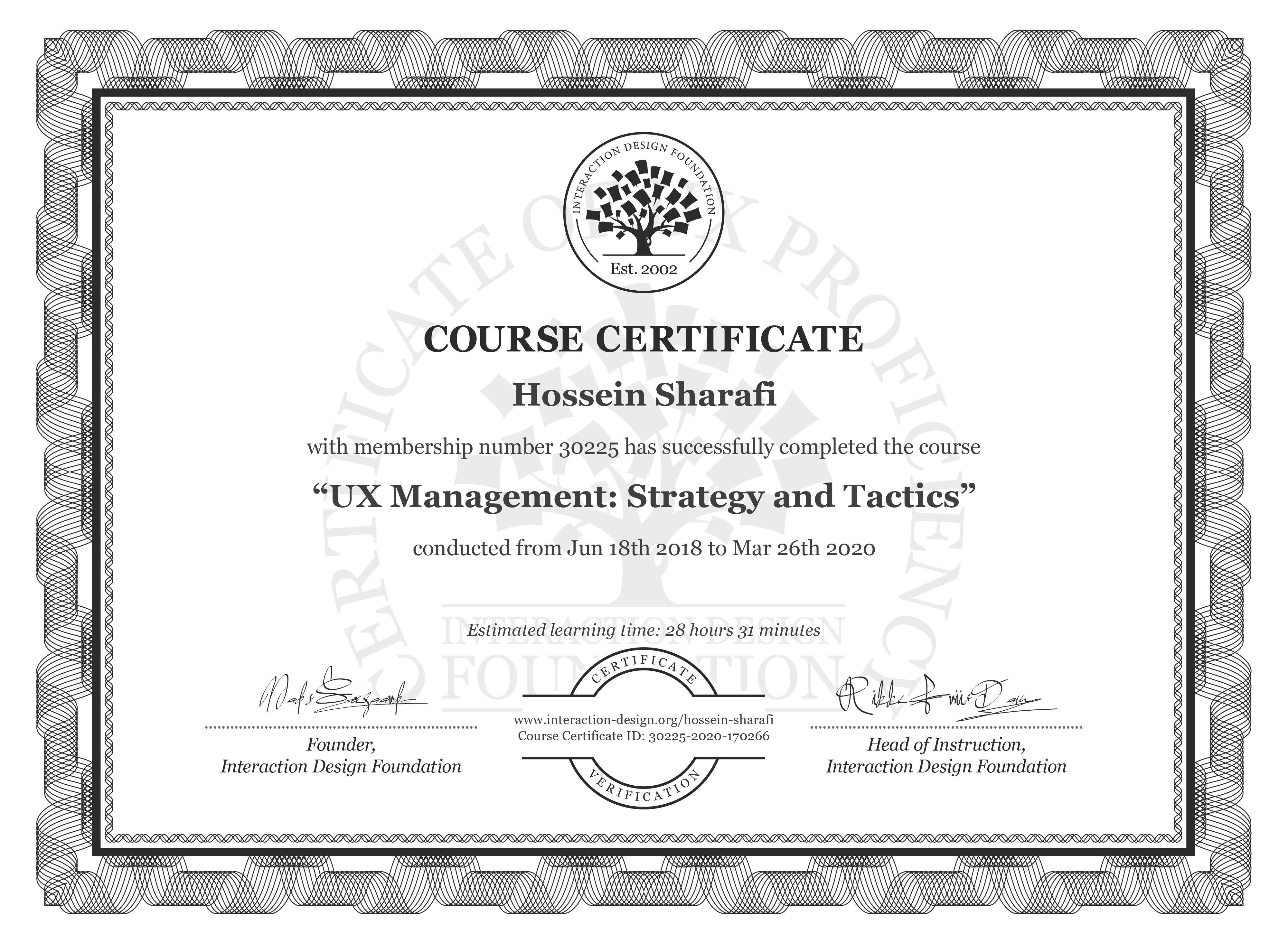Hossein Sharafi's Course Certificate: UX Management: Strategy and Tactics