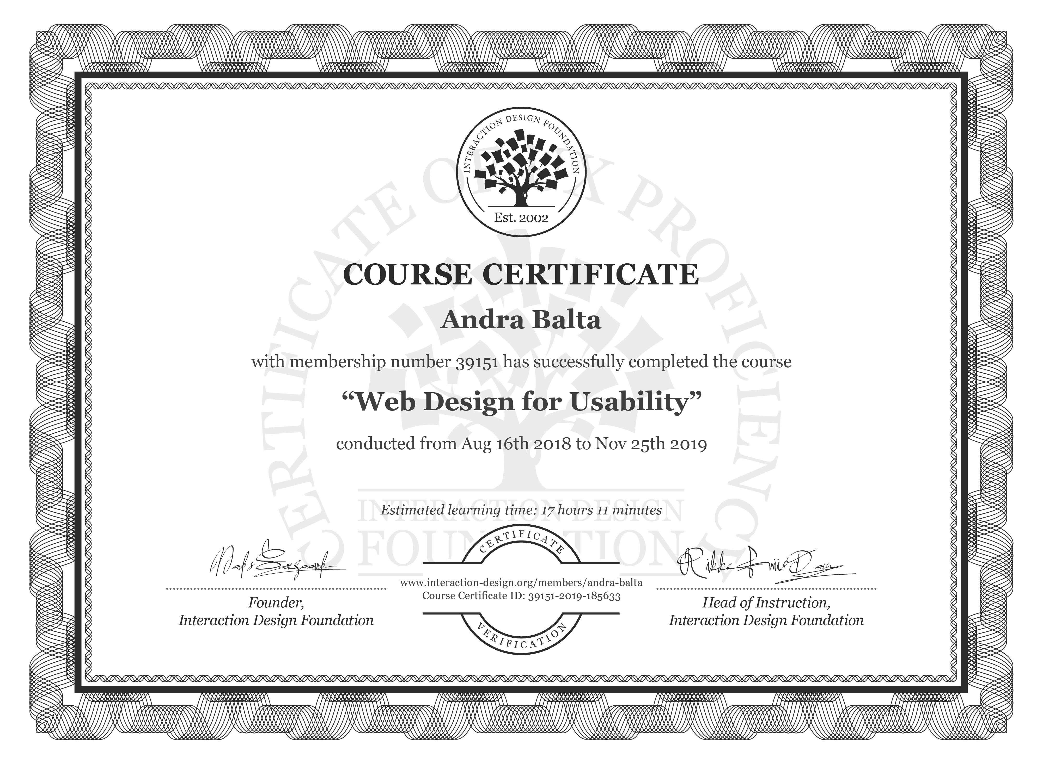 Andra Balta's Course Certificate: Web Design for Usability