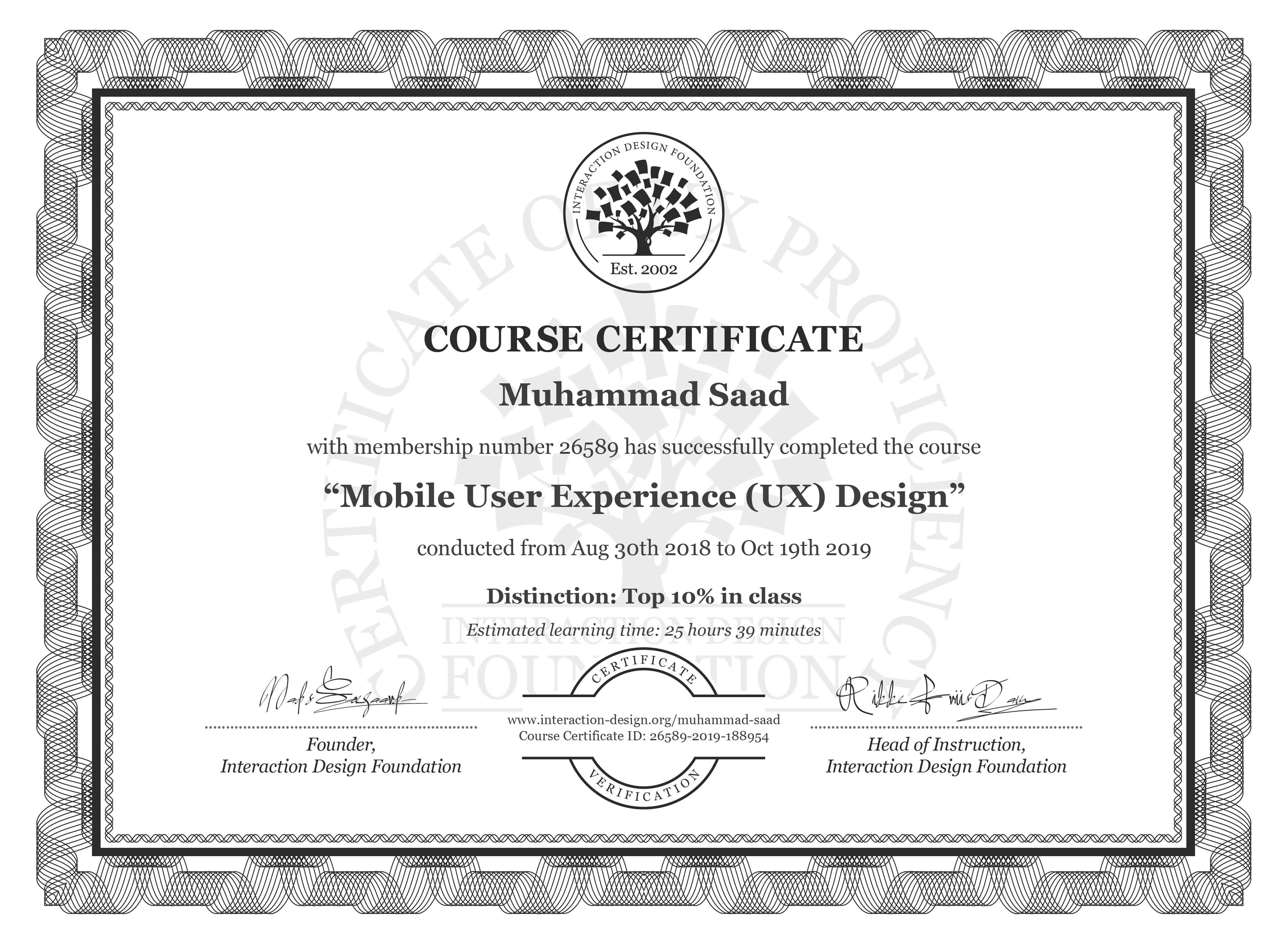 Muhammad Saad: Course Certificate - Mobile User Experience (UX) Design