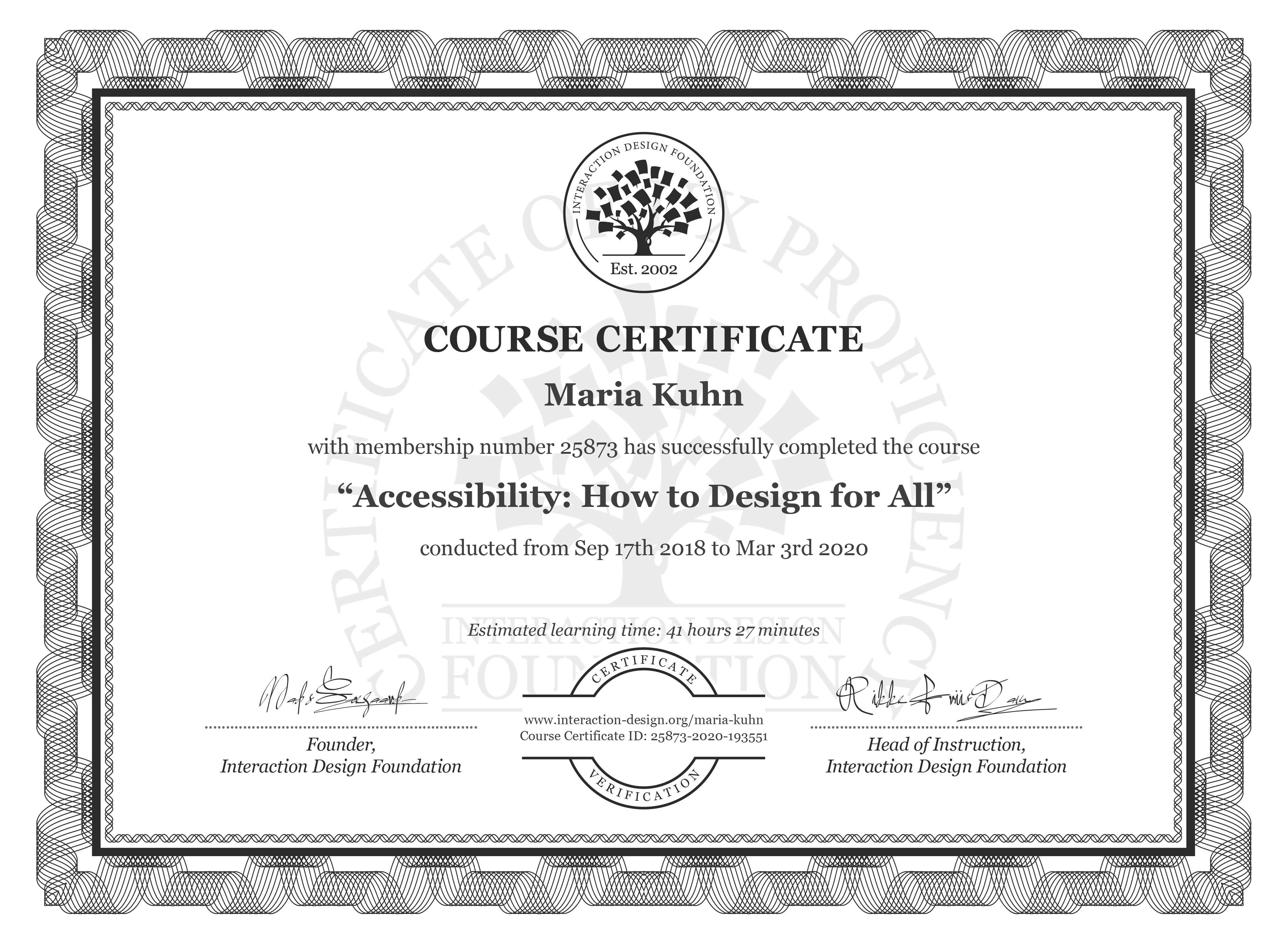 Maria Kuhn's Course Certificate: Accessibility: How to Design for All