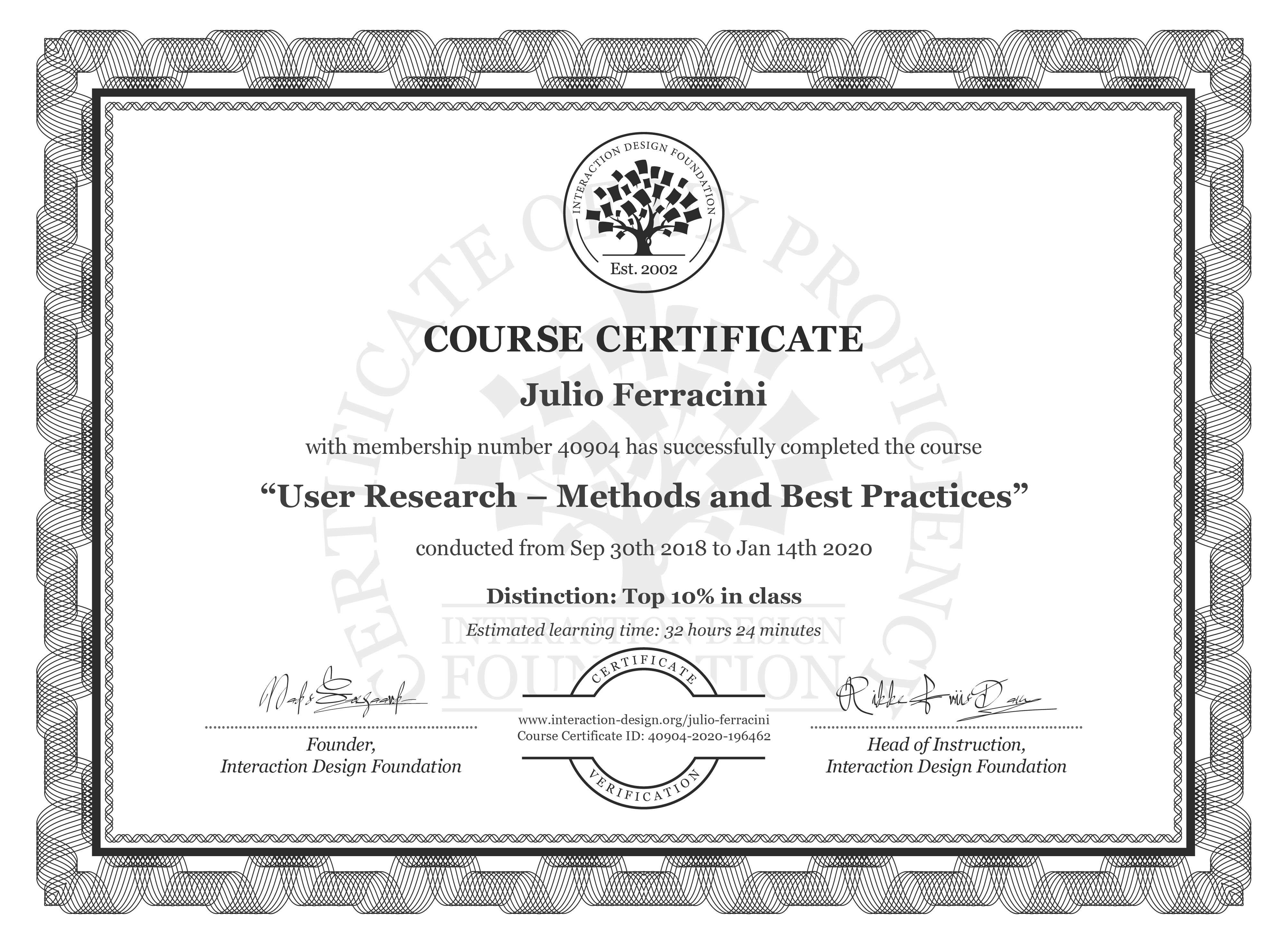 Julio Ferracini's Course Certificate: User Research – Methods and Best Practices