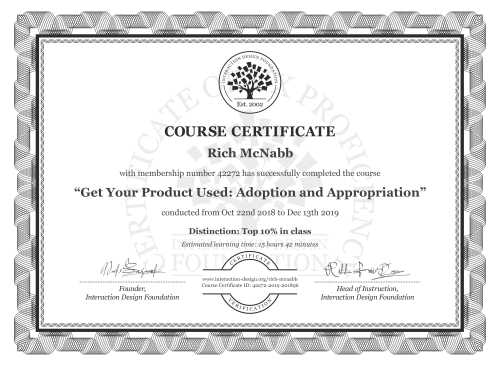 Rich McNabb's Course Certificate: Get Your Product Used: Adoption and Appropriation