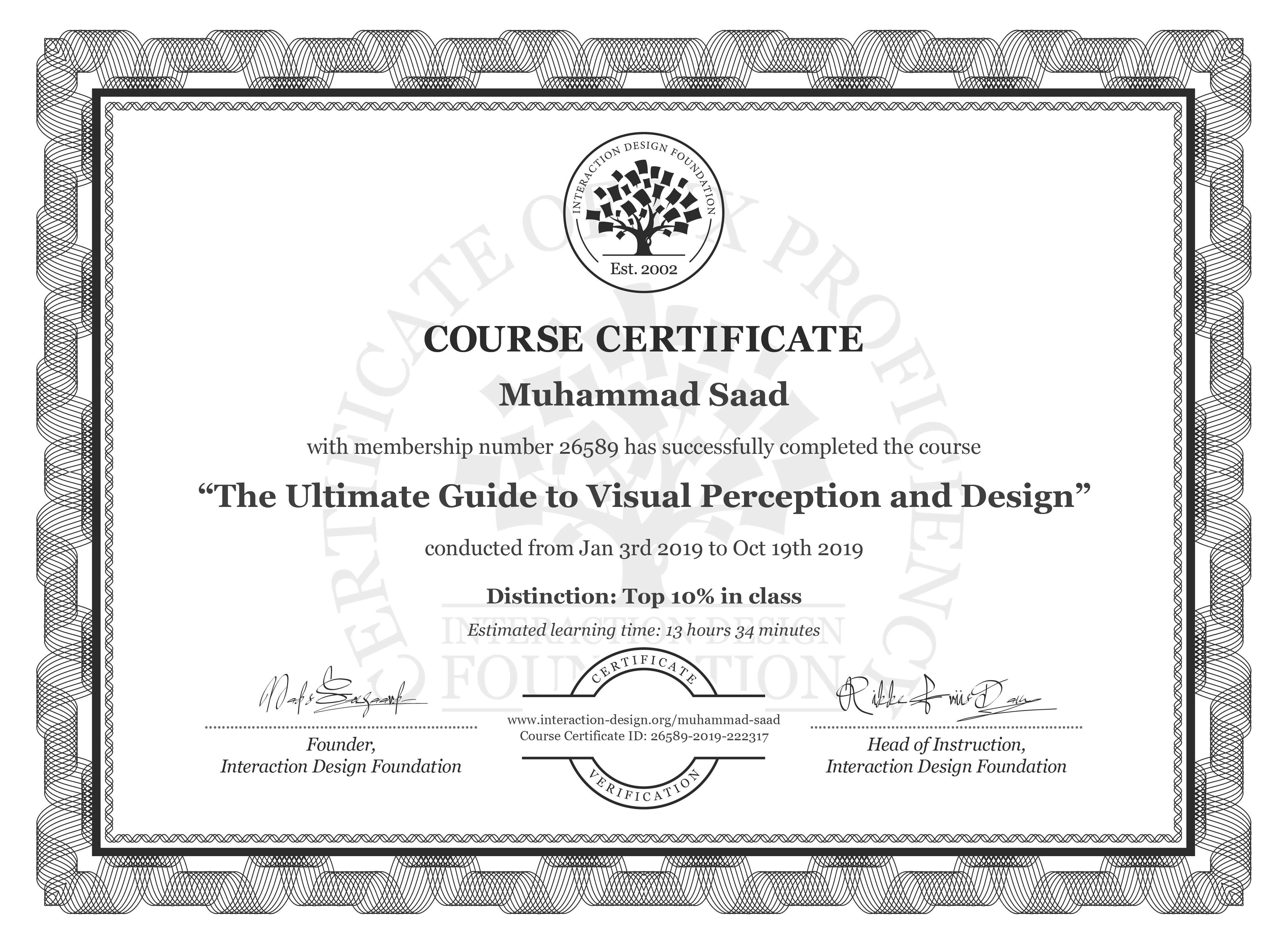 Muhammad Saad: Course Certificate - The Ultimate Guide to Visual Perception and Design
