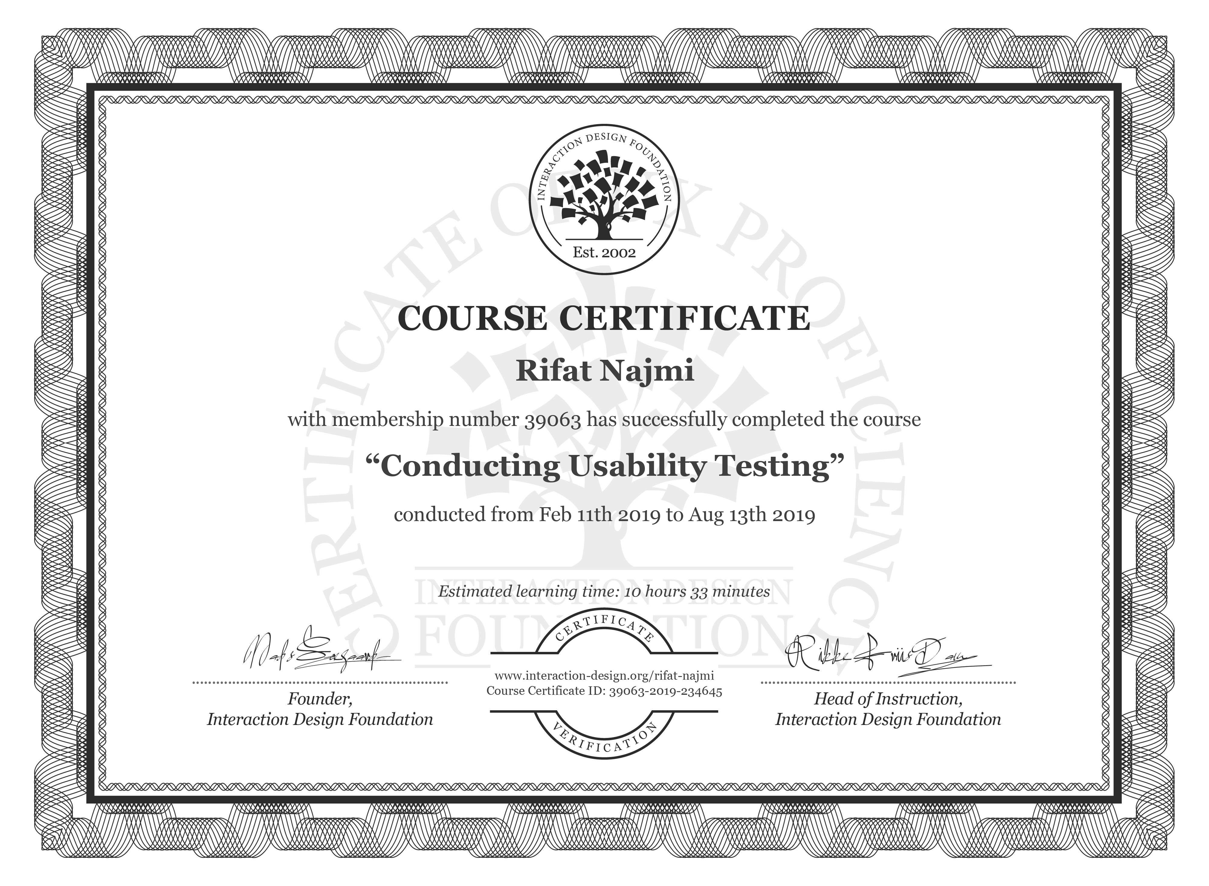Rifat Najmi's Course Certificate: Conducting Usability Testing