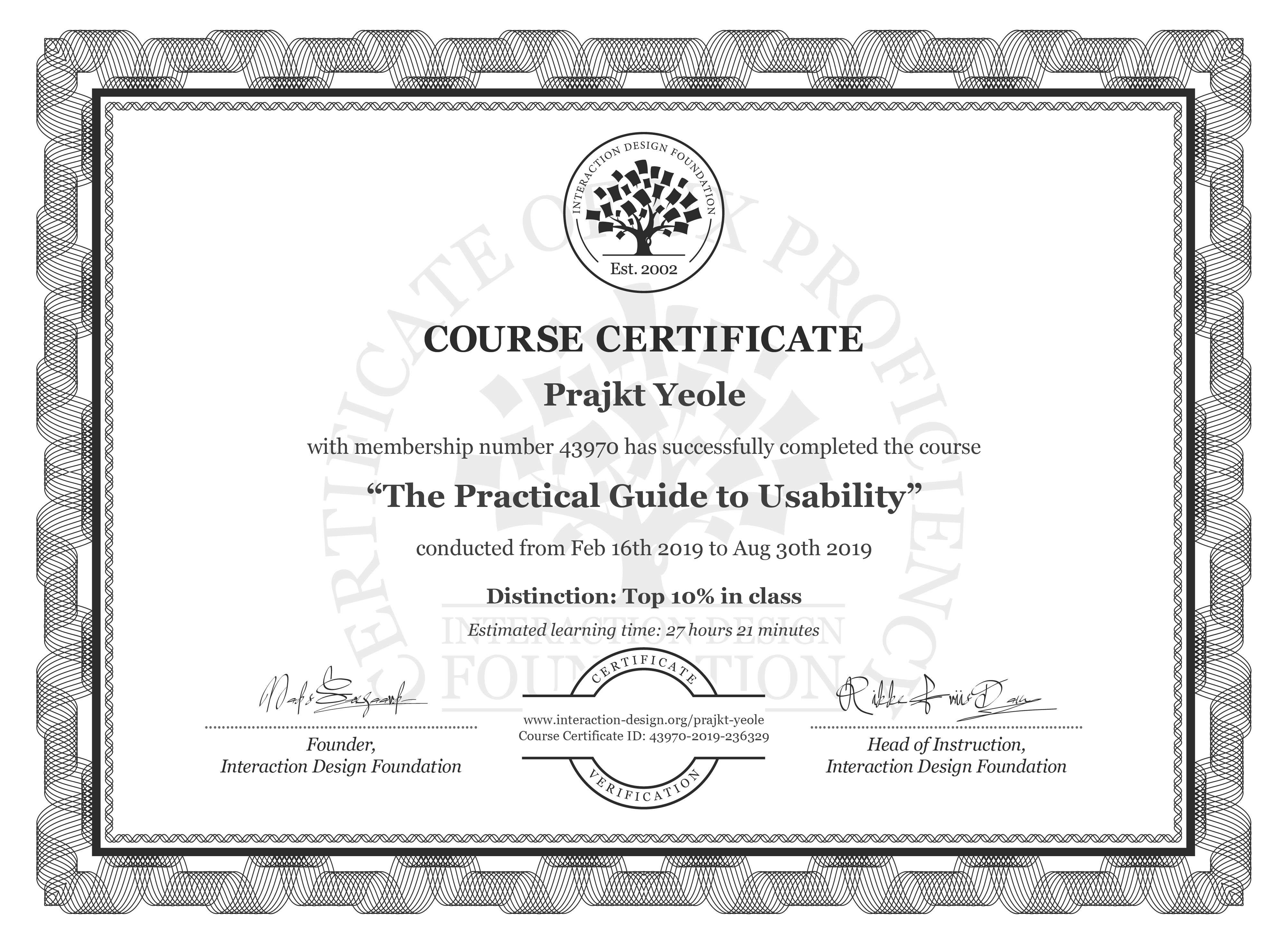 Prajkt Yeole's Course Certificate: The Practical Guide to Usability