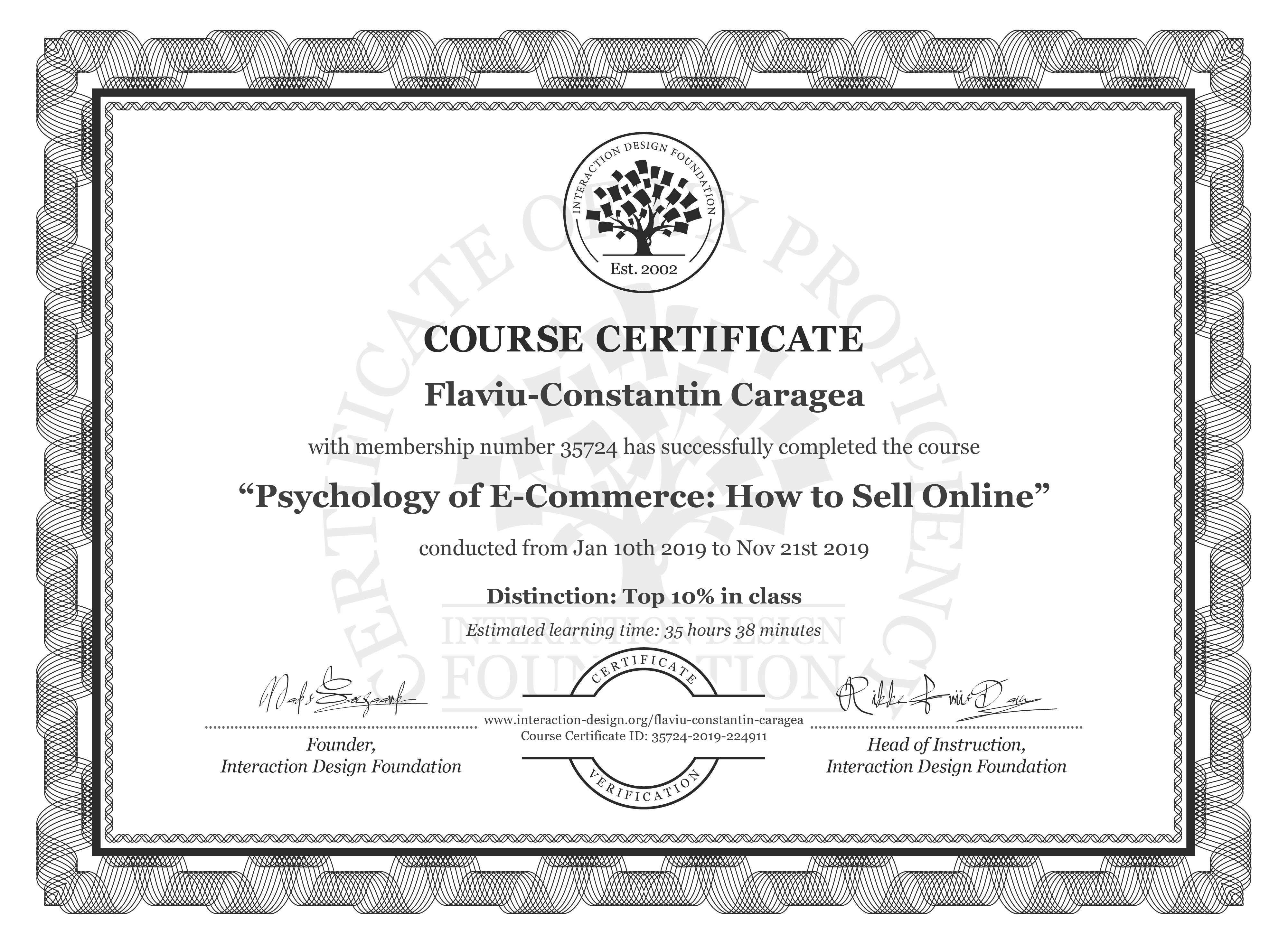 Flaviu-Constantin Caragea: Course Certificate - Psychology of E-Commerce: How to Sell Online
