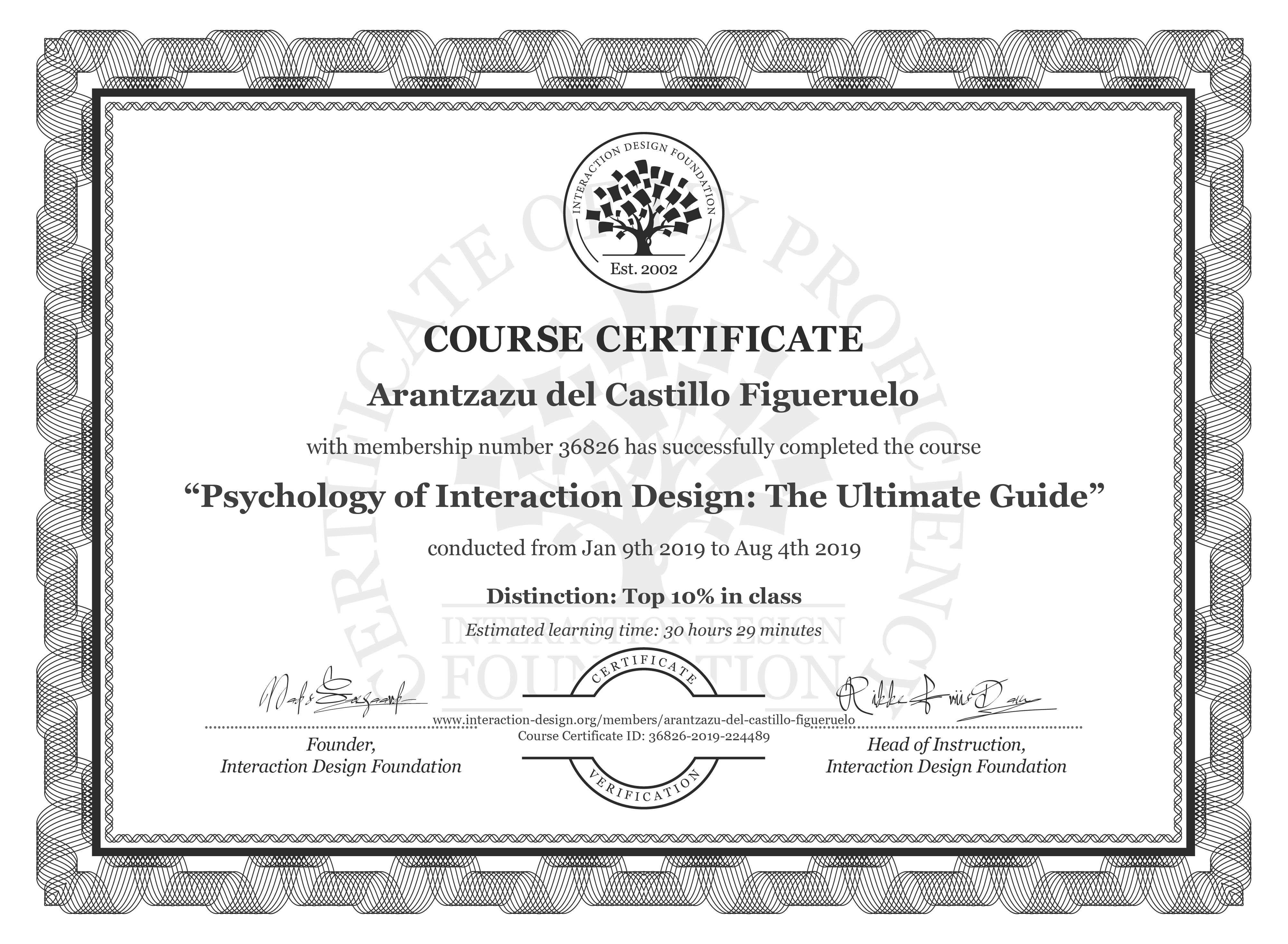 Arantzazu del Castillo Figueruelo's Course Certificate: Psychology of Interaction Design: The Ultimate Guide