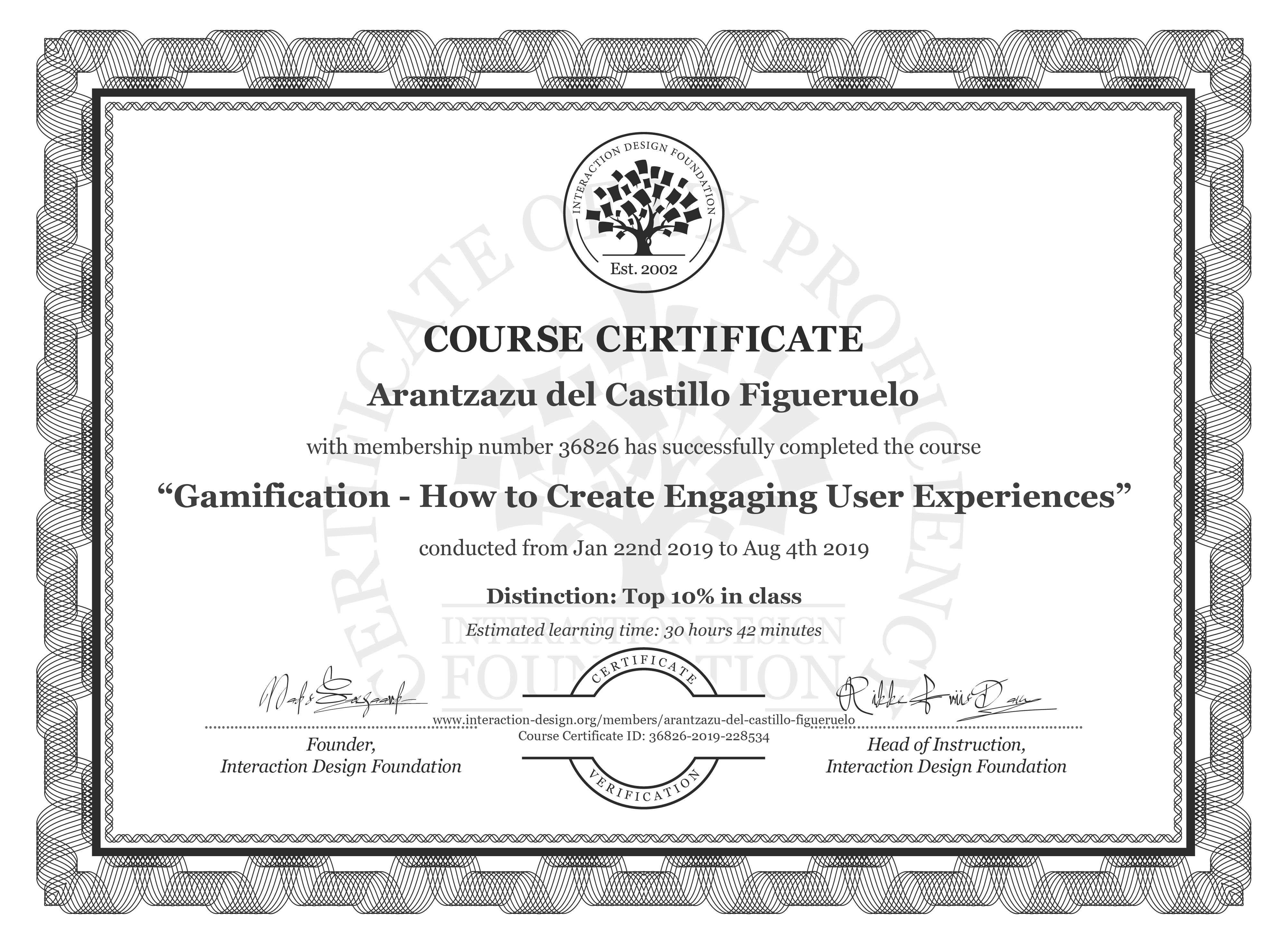 Arantzazu del Castillo Figueruelo's Course Certificate: Gamification – Creating Addictive User Experiences