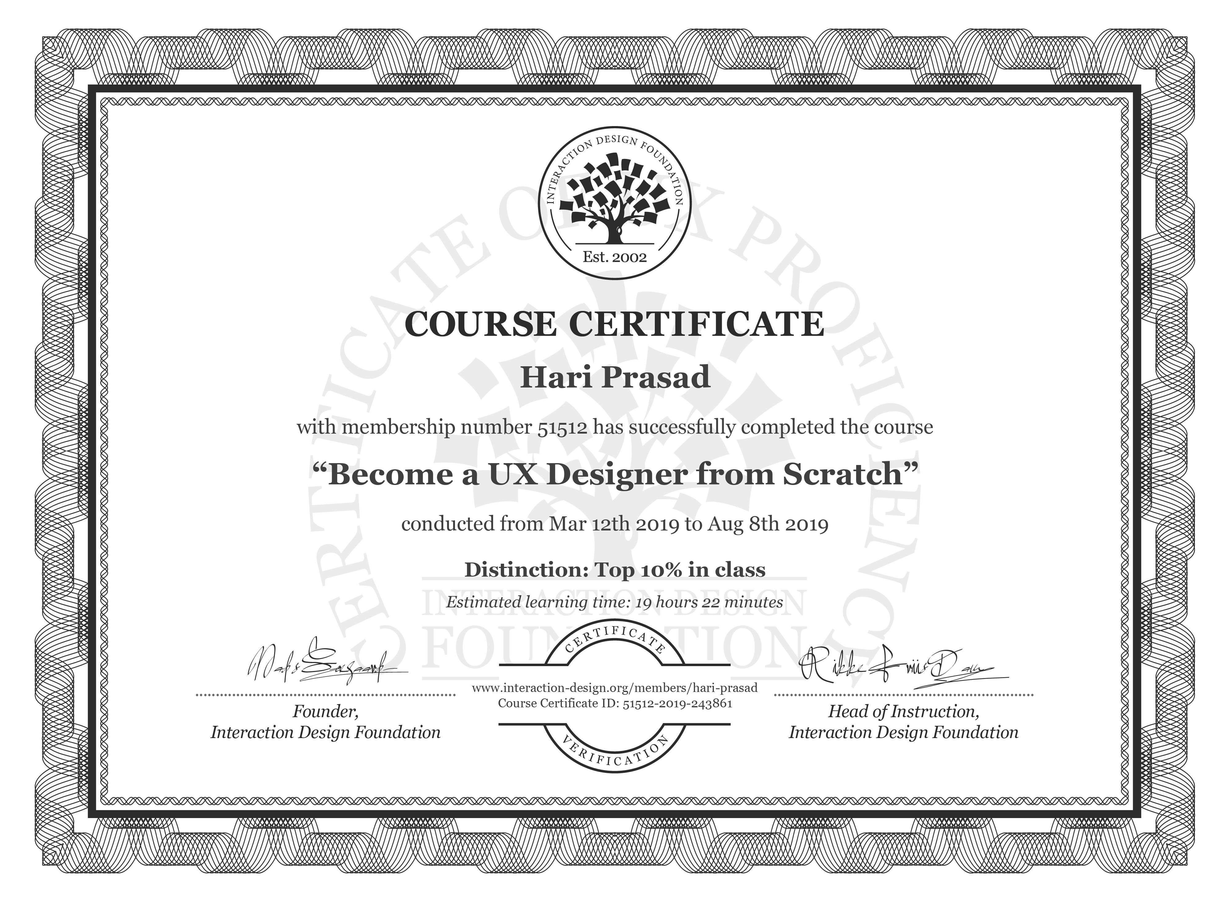 Hari Prasad's Course Certificate: User Experience: The Beginner's Guide