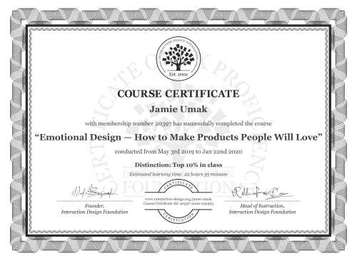 Jamie Umak's Course Certificate: Emotional Design — How to Make Products People Will Love